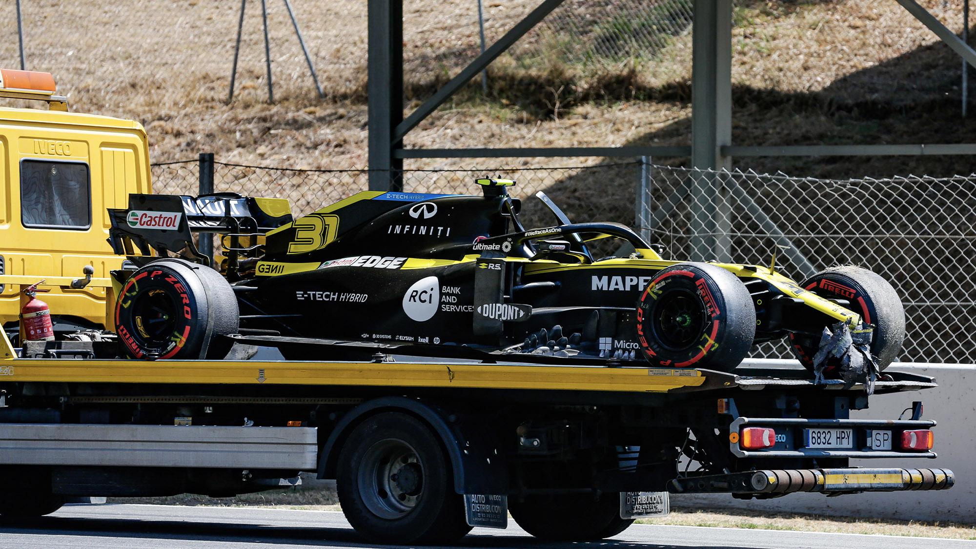Esteban Ocon's damaged renault after a crash during practice for the 2012 Spanish Grand Prix