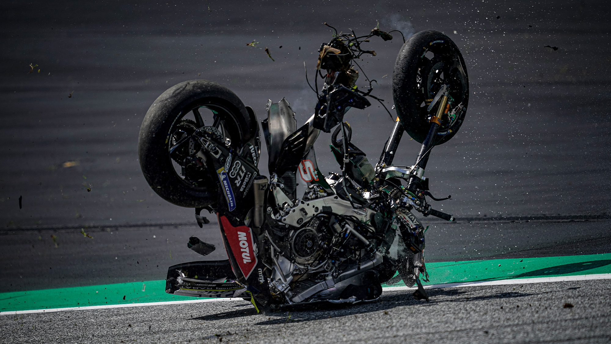Johann Zarco's wrecked bike on the ground at the Red Bull Ring after a collision with Franco Morbidelli's Yamaha in the 2020 MotoGP Austrian Grand Prix