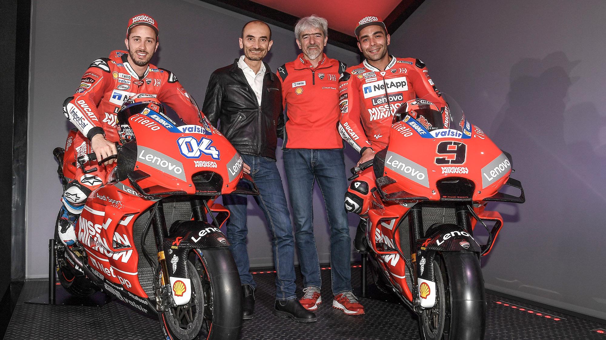 2020 Ducati MotoGP team with Dovizioso Domenicali Dall Igna and Petrucci