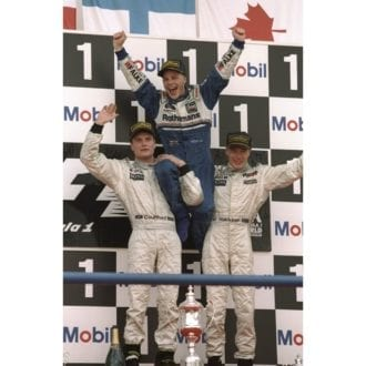 Product image for 1997 Jacques Villeneuve, David Coulthard and Mika Hakkinen   Getty Images   Premium print