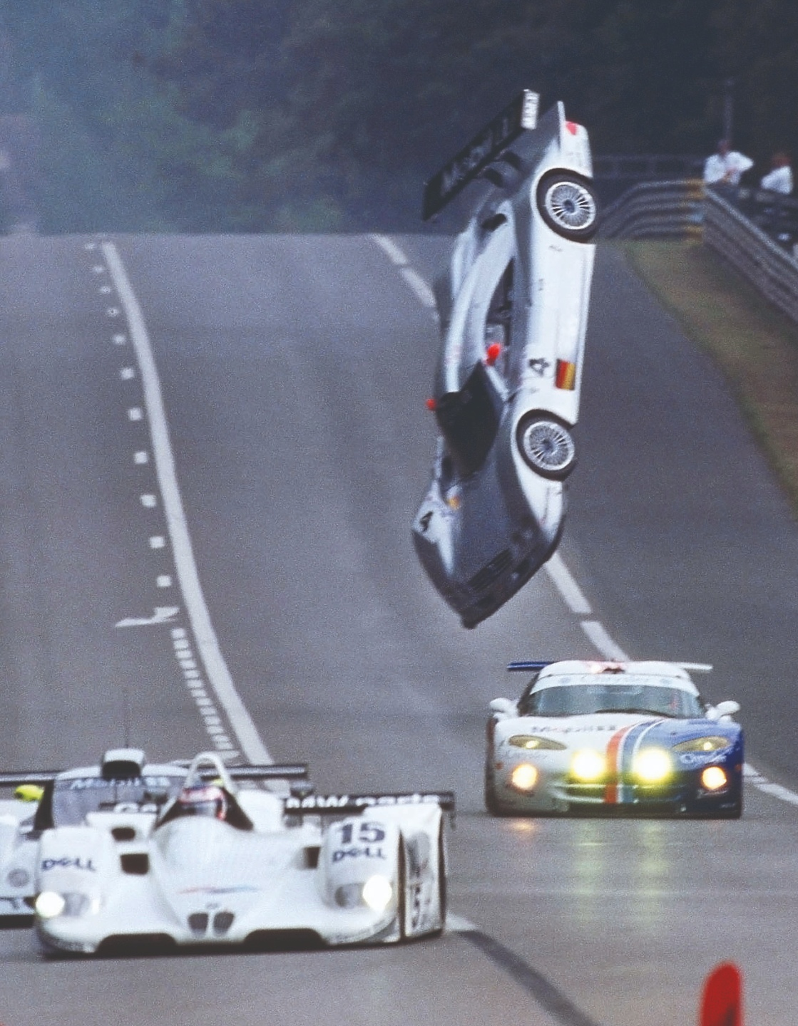 Mark Webber's Mercedes CLR flips on the Mulsanne Straight at ahead of the 1999 Le Mans 24 Hours race