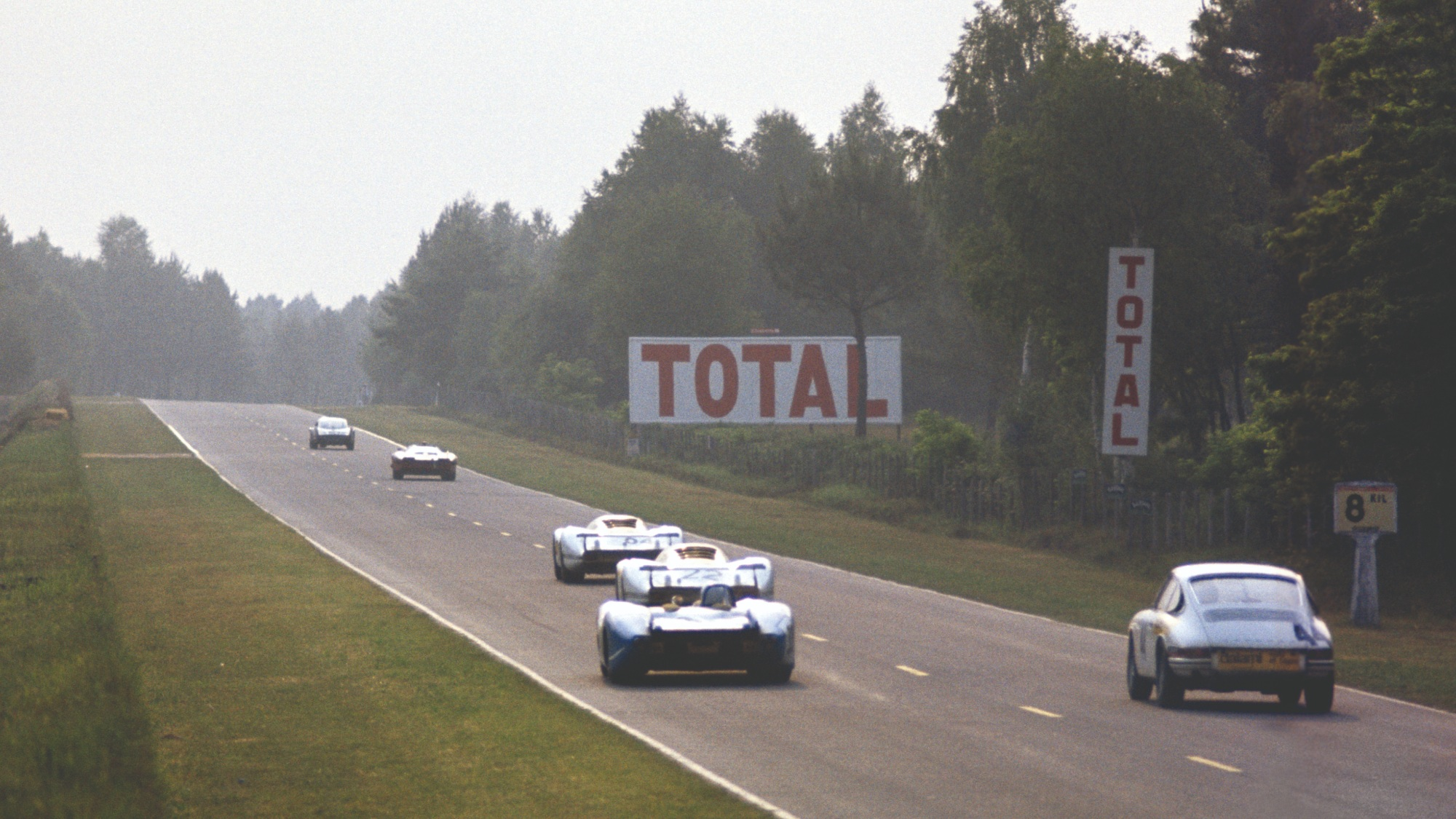 Cars head towards Indianapolis during the 1969 Le Mans 24 Hours