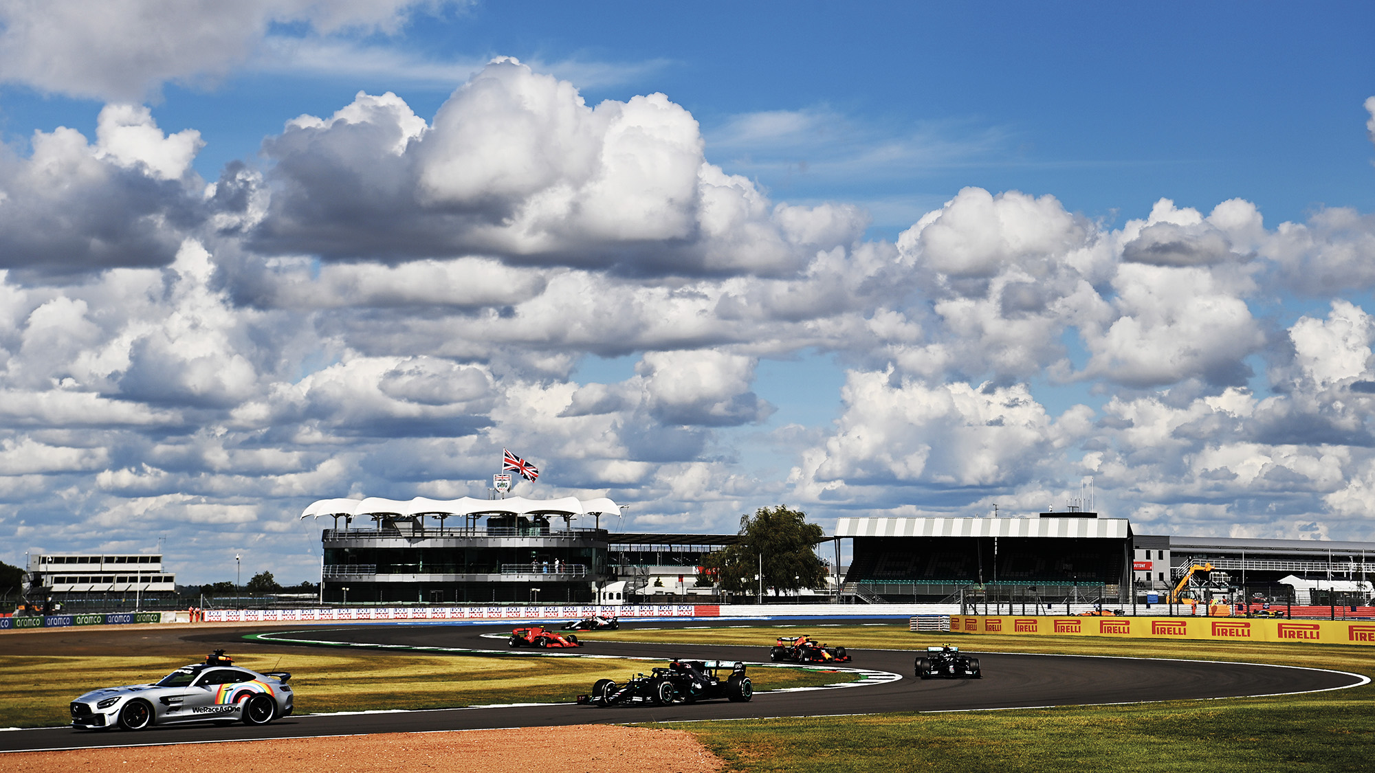 Safety car leads the F1 field around Silverstone during the 2020 British Grand Prix