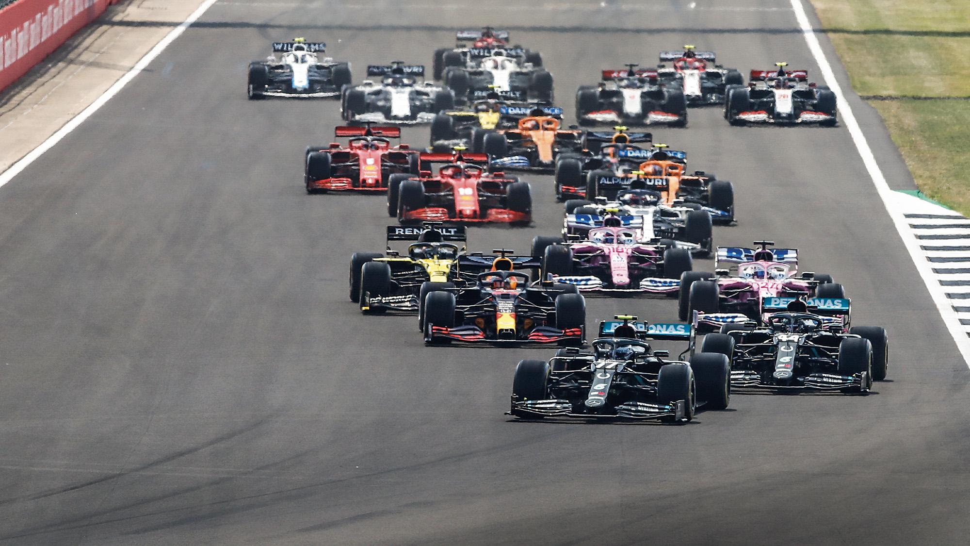 Start of the Formula 1 70th Anniversary Grand Prix at Silverstone