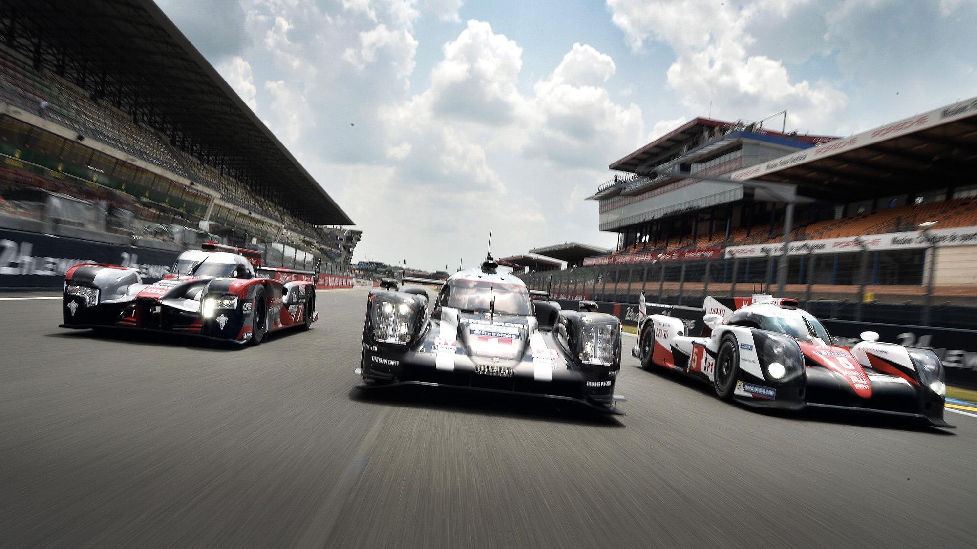 Audi Porsche and Toyota LMP1 cars at Le mans