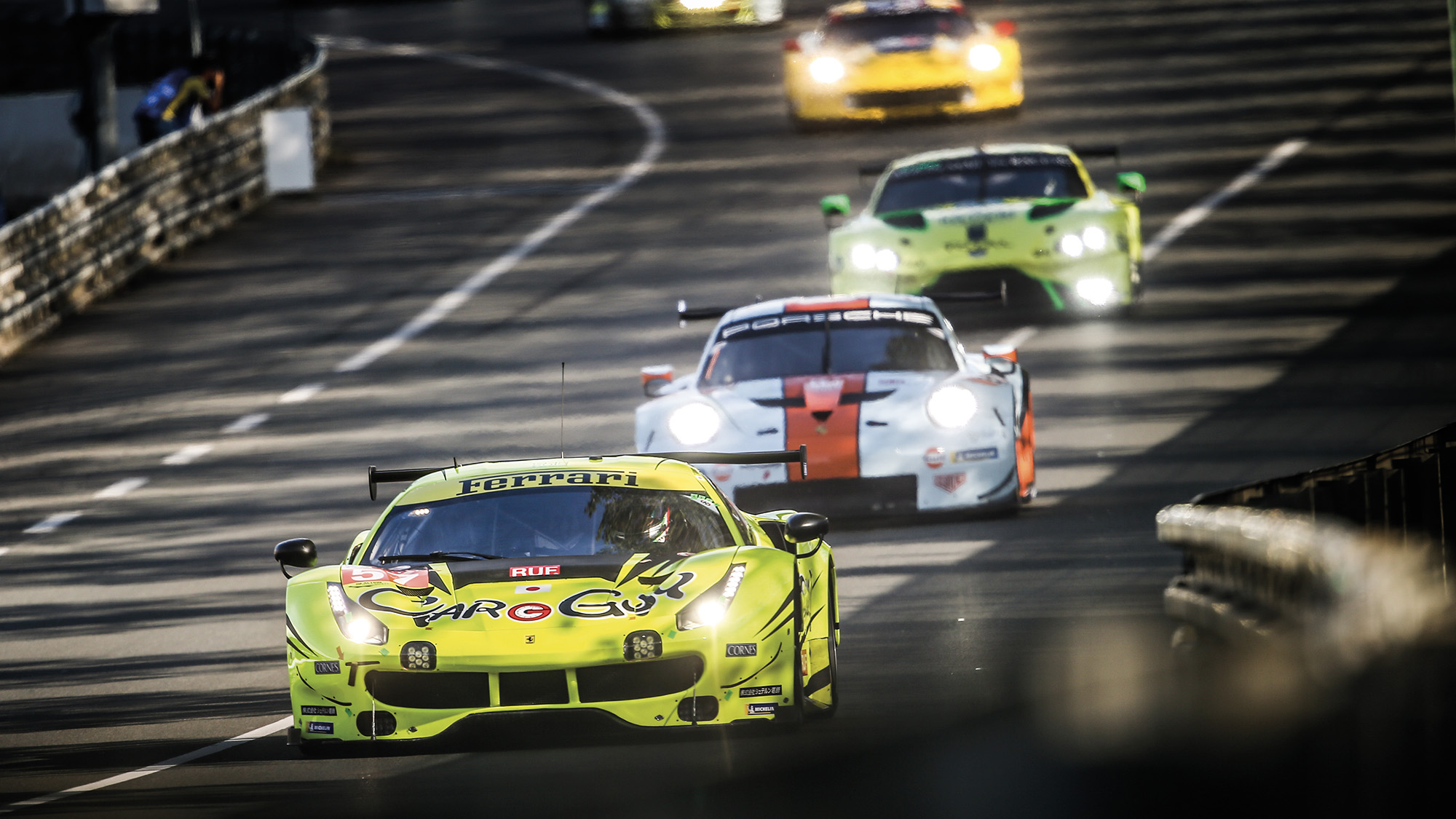 Ferrari Porsche and Aston Martin GT cars at the Le Mans 24 Hours