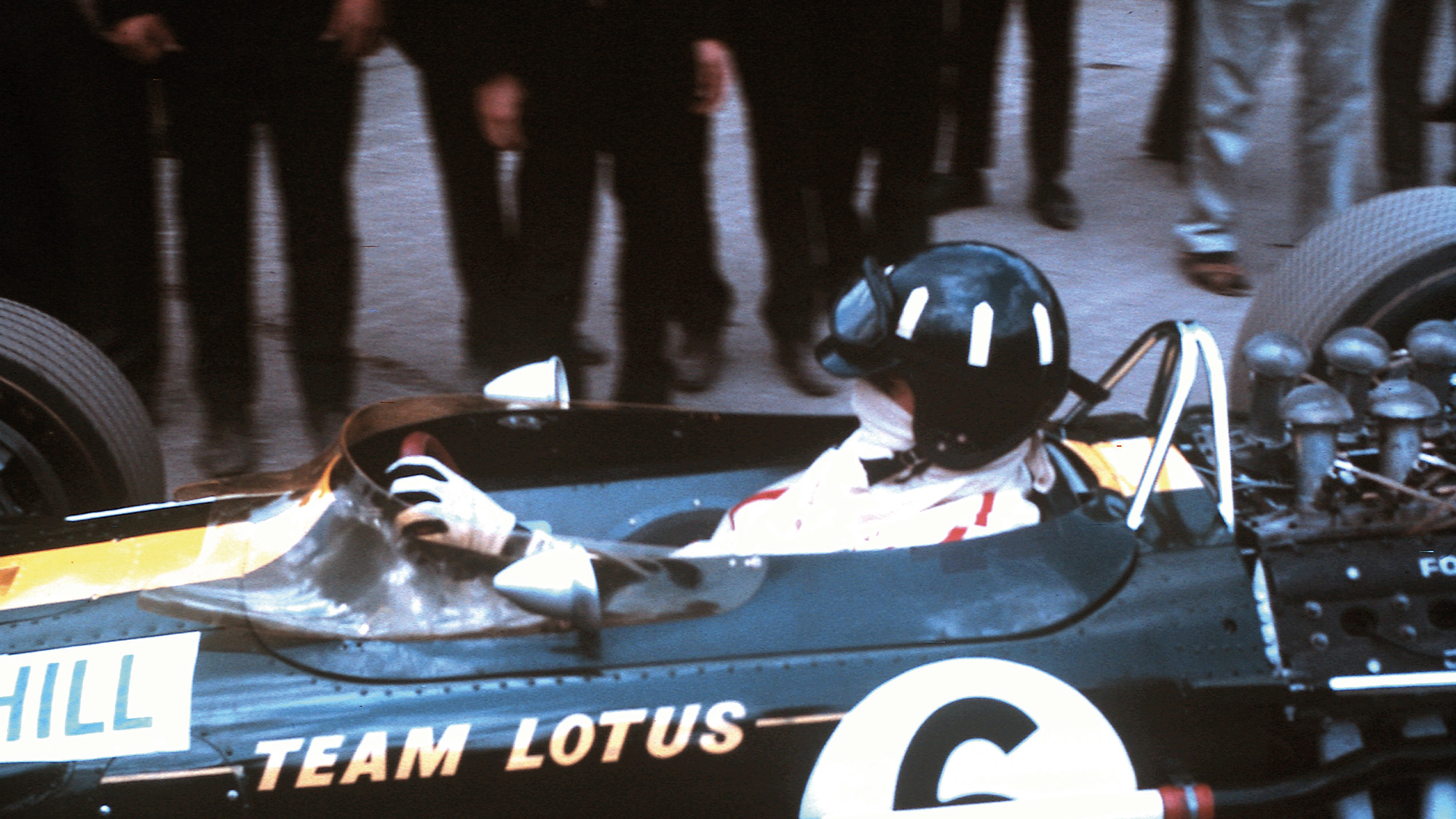 Graham Hill in his Lotus-BRM ahead of the 1967 British Grand Prix