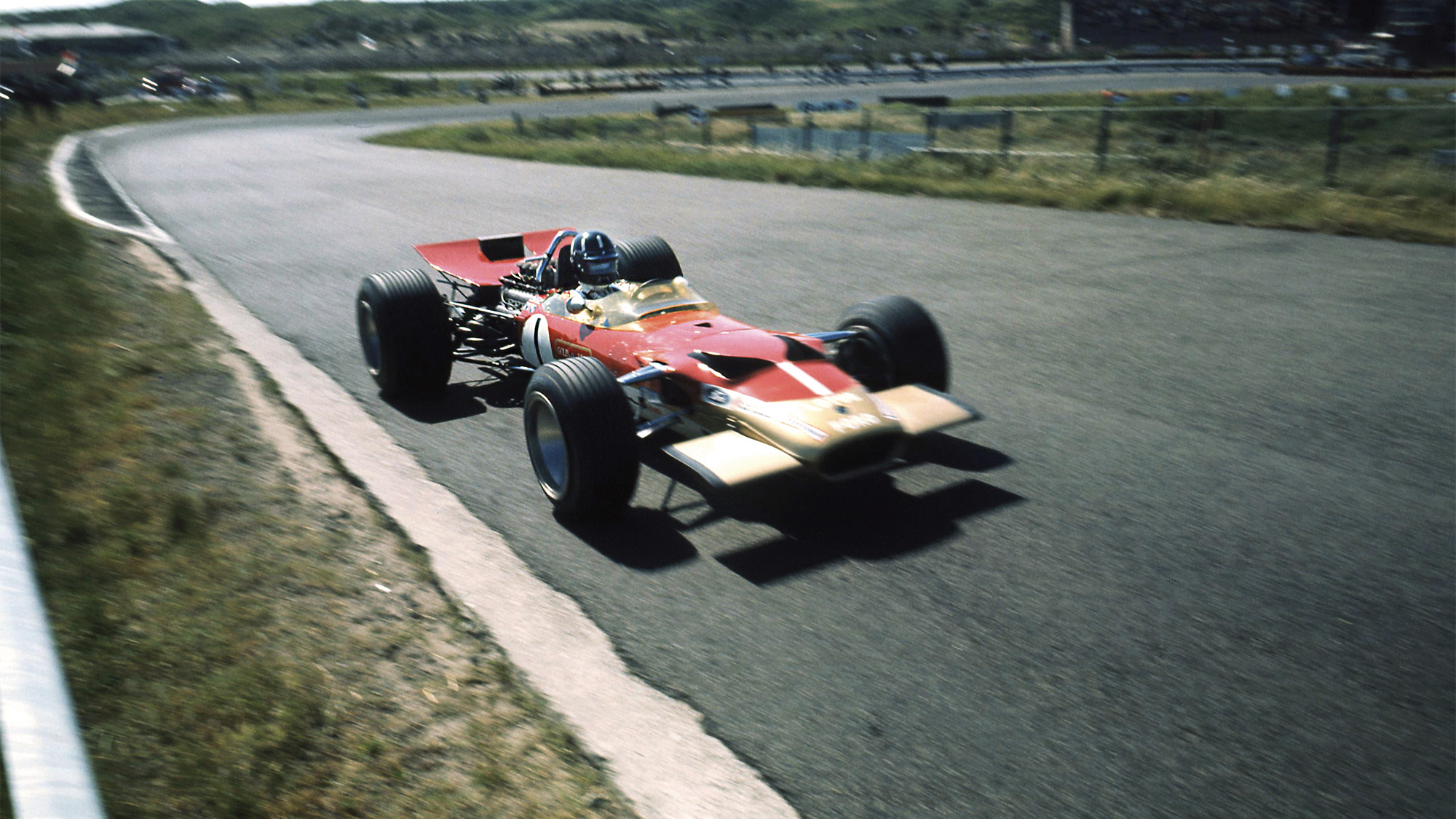 Graham Hill's Lotus at Zandvoort in the 1968 Dutch Grand Prix