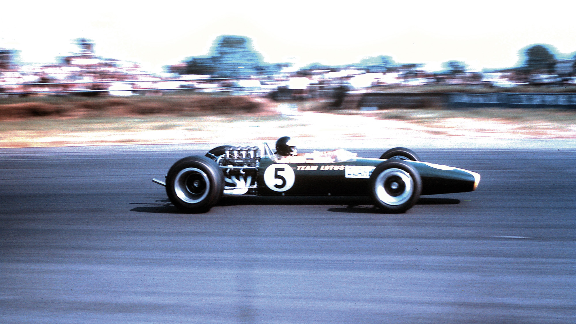 Jim Clark in his Lotus at Silverstone in 1967