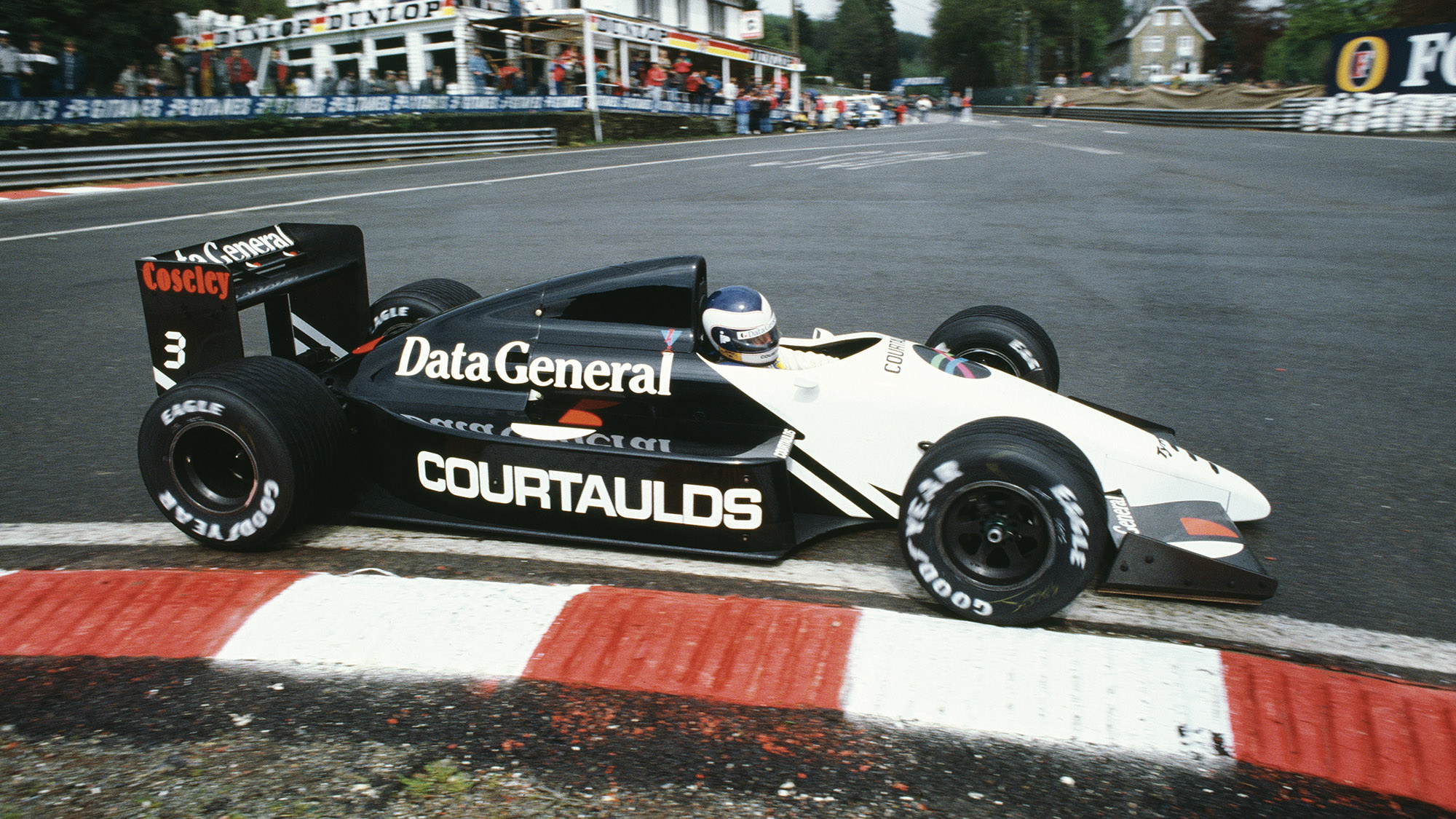 Jonathan Palmer in a Tyrrell DG016 at the 1987 Belgian Grand Prix at Spa
