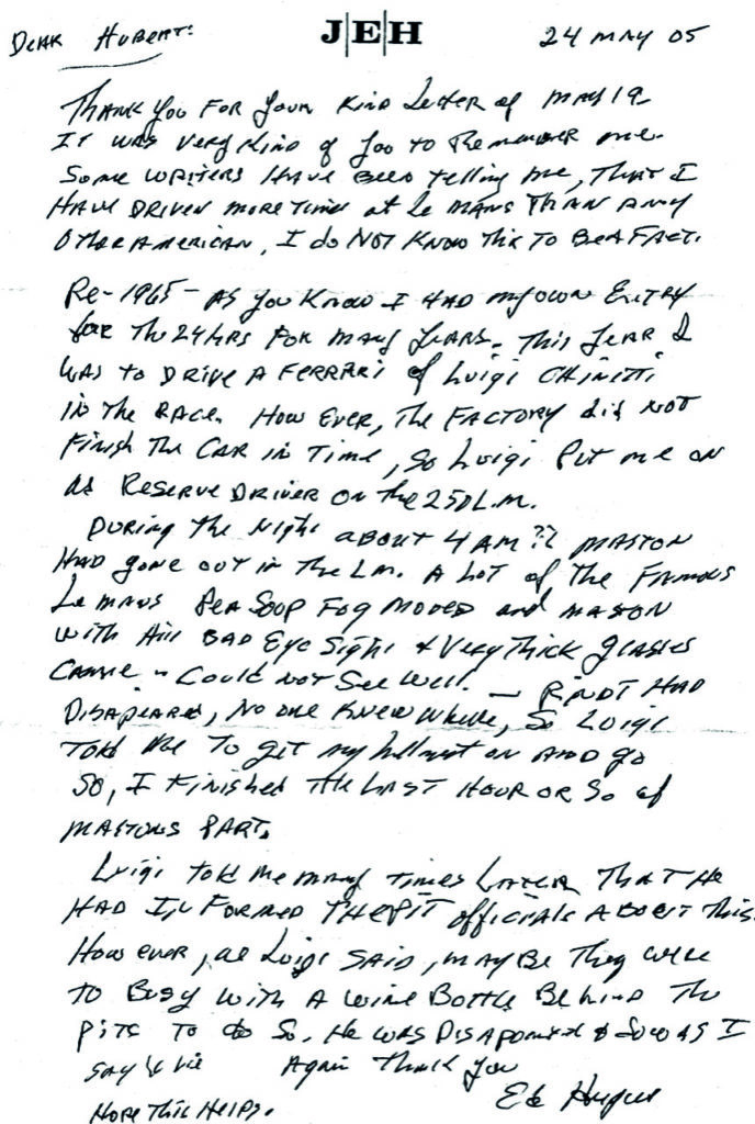 Letter-from-Ed-Hugus-claiming-he-had-driven-the-1965-Le-Mans-24-Hours-winning-car-during-the-race.