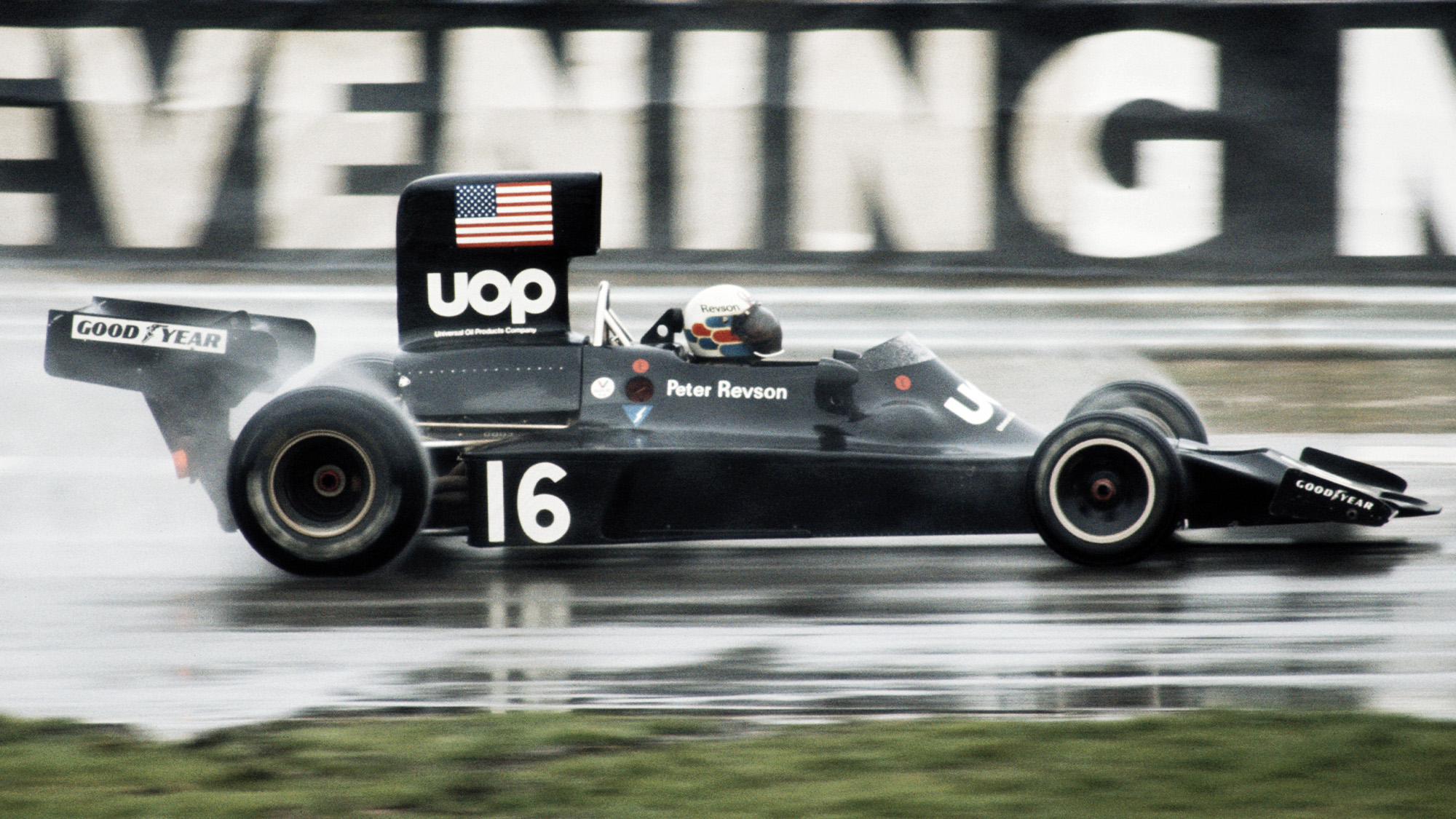 Peter Revson in his Shadow-Ford DN3 during the 1974 Race of Champions at Brands Hatch