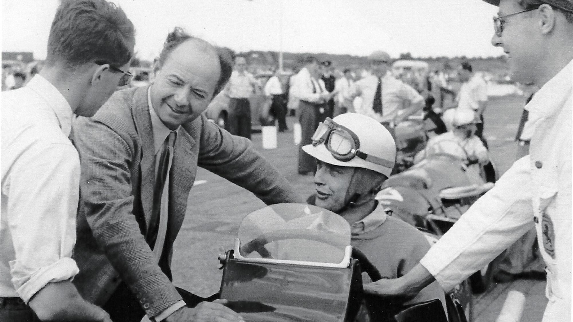Raymond Mays wih Ron Flockhart and Hugh Langrishe