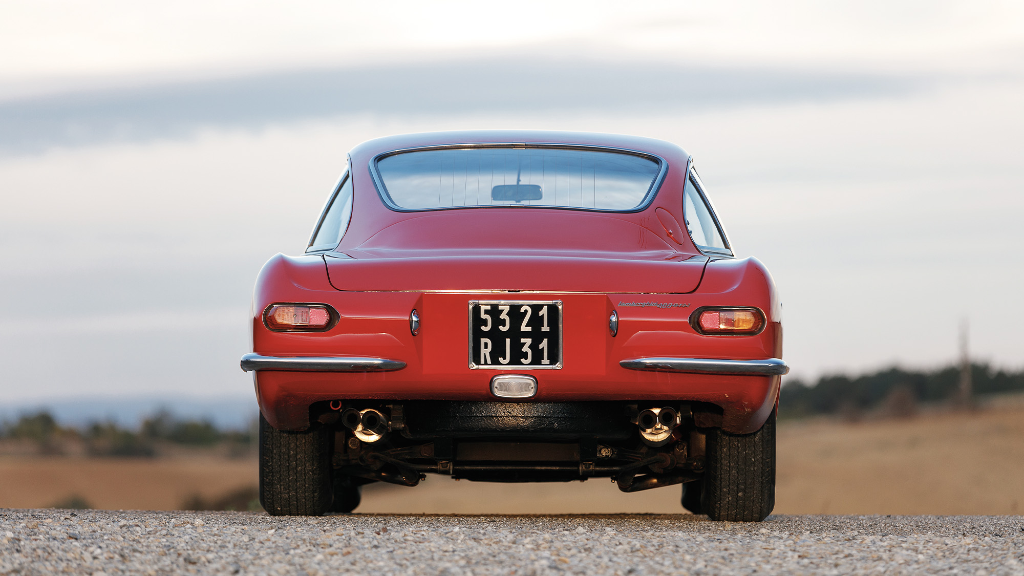 Rear view of a 1967 Lamborghini 400 GT