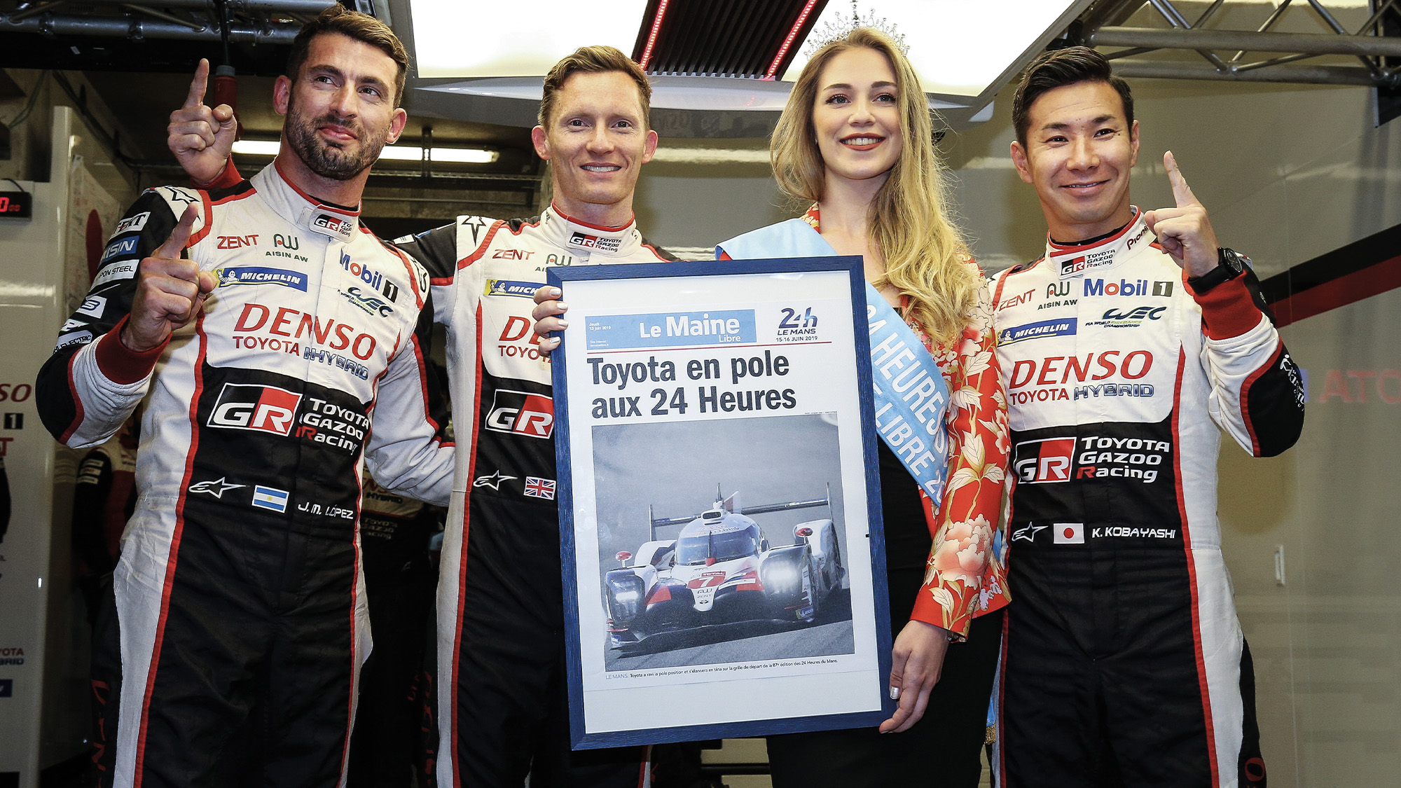 Toyota car 7 drivers celebrate clinching pole position for the 2019 Le Mans 24 Hours
