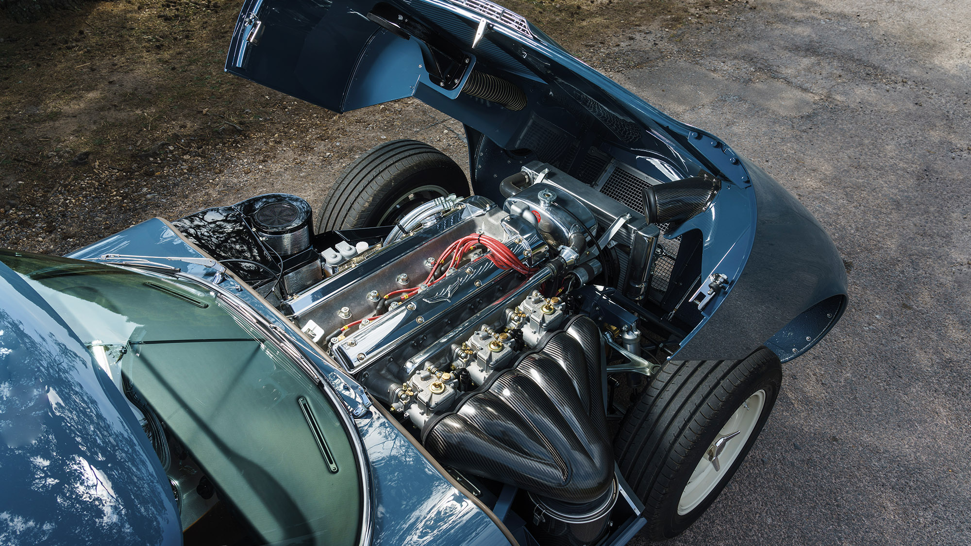 View of engine with the bonnet open of the 2020 Eagle E-type Lightweight GT
