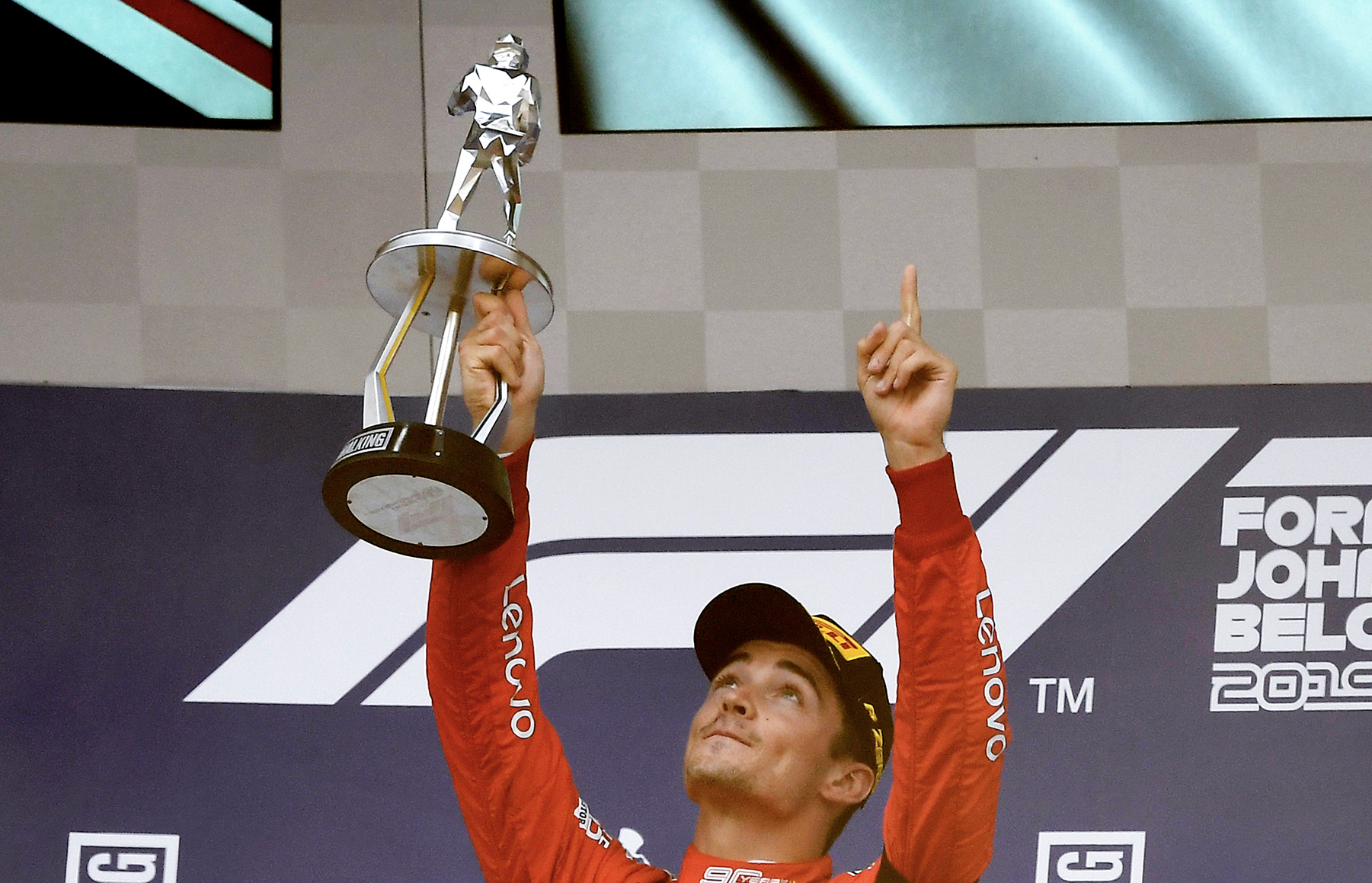 Charles Leclerc pays tribute to Anthoine Hubert after winning the 2019 Belgian grand Prix at Spa Francorchamps