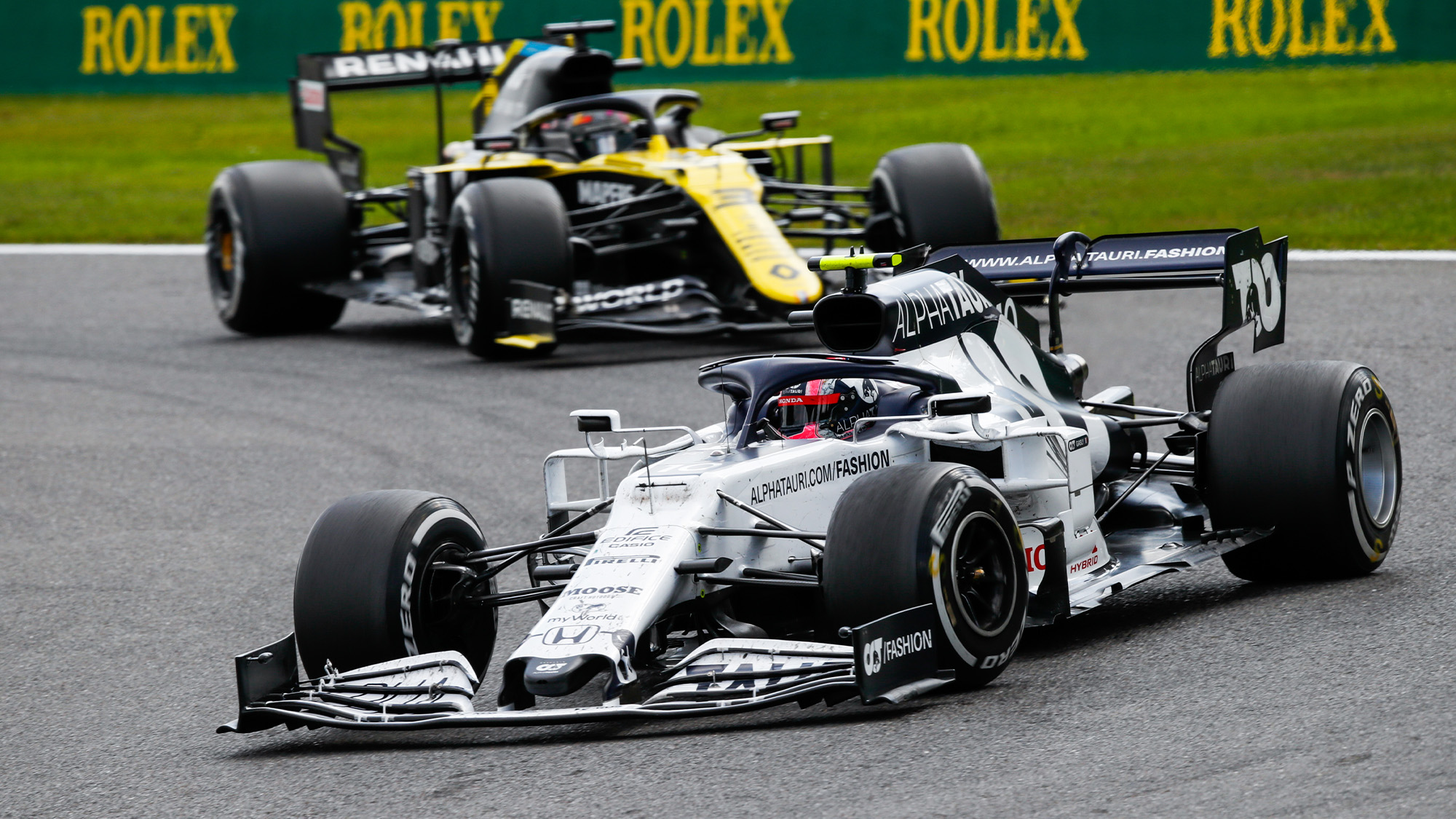 Pierre Gasly ahead of Kimi Raikkonen at Spa Francorchamps during the 2020 f1 Belgian Grand Prix
