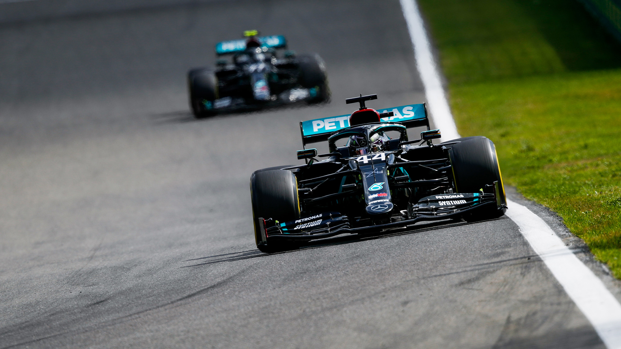 Lewis Hamilton ahead of Valtteri Bottas at Spa Francorchamps during the 2020 F1 Belgian Grand prix