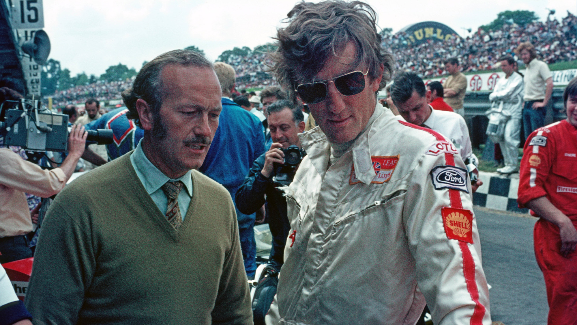 Colin Chapman with Jochen Rindt at Brands Hatch ahead of the 1970 British GP