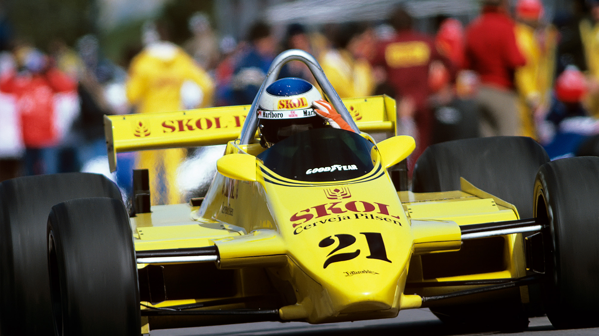 Keke Rosberg in the Fittipaldi-Ford F8 dueing the 1980 F1 Grand Prix of Canada at the Circuit Gilles Villeneuve