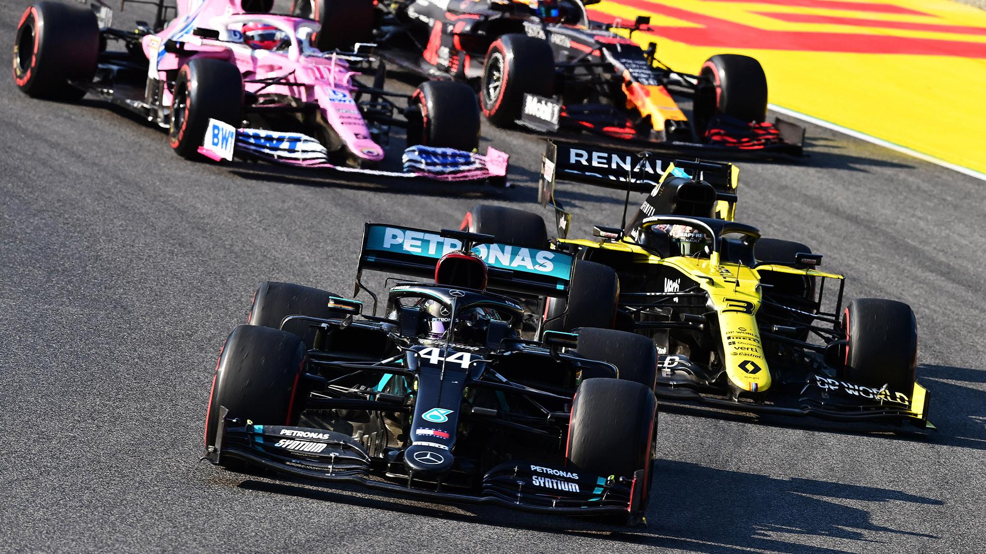 Lewis Hamilton leads Daniel Ricciardo at the third Mugello restart during the 2020 F1 Tuscan Grand Prix