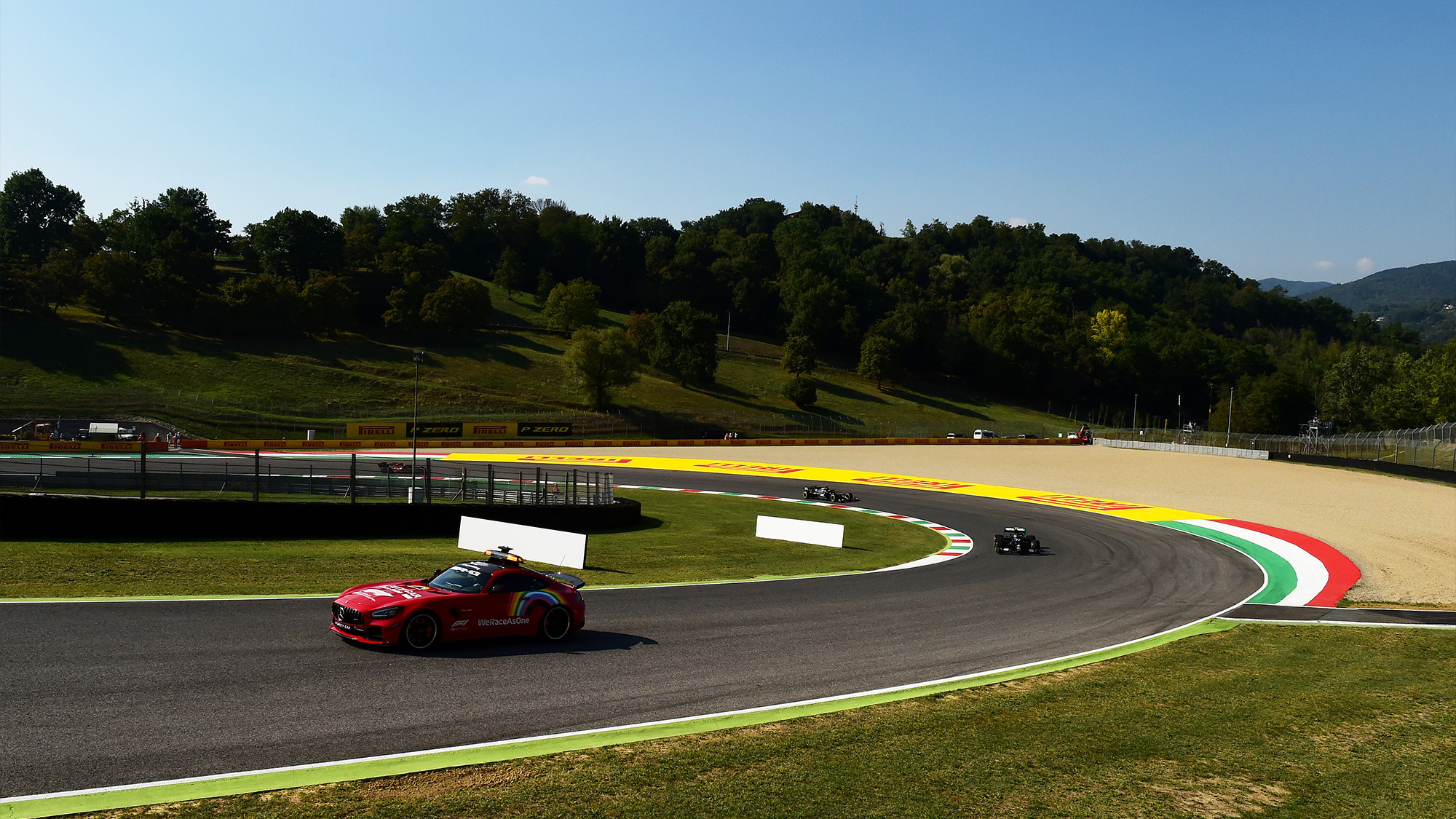 Safety car at Mugello during the 2020 F1 Tuscan Grand Prix