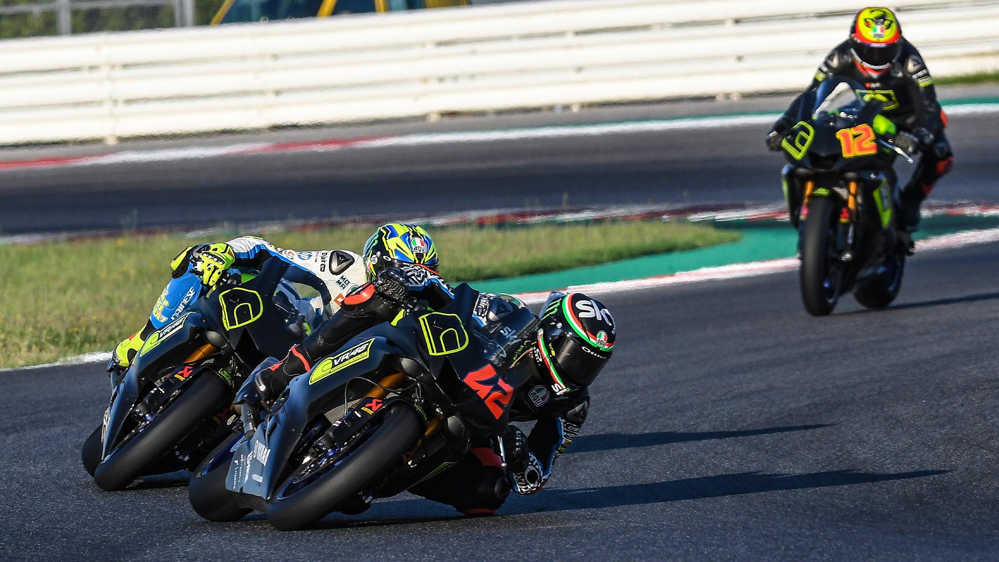 Bagnaia leads Lorenzo Baldassarri and Bezzecchi on VR46 academy bikes