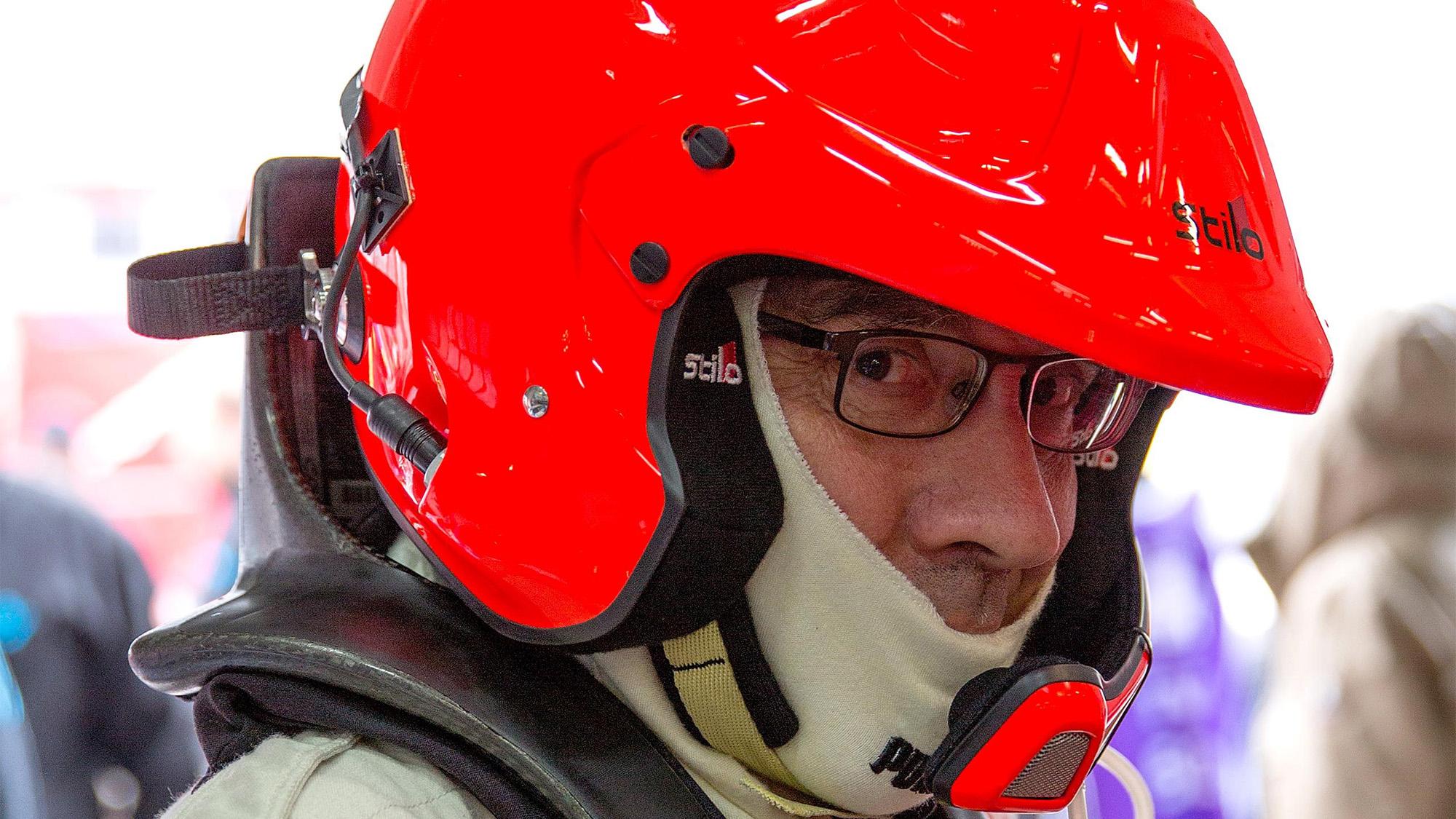 Dominique Bastien with helmet on