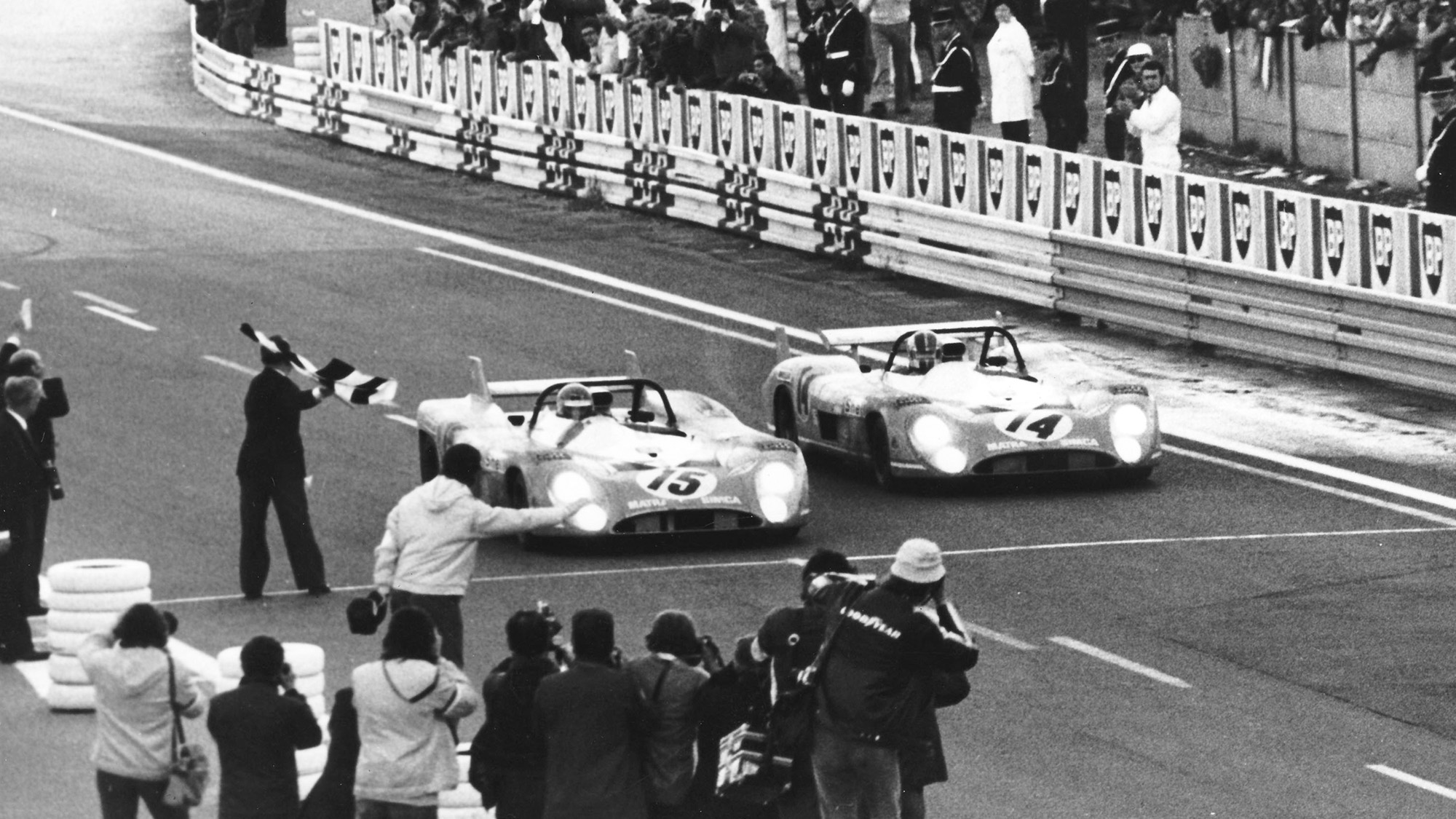 The Graham Hill and Henri Pescarolo Matra-Simca MS 670 crosses the line to win the 1972 Le Mans 24 hours