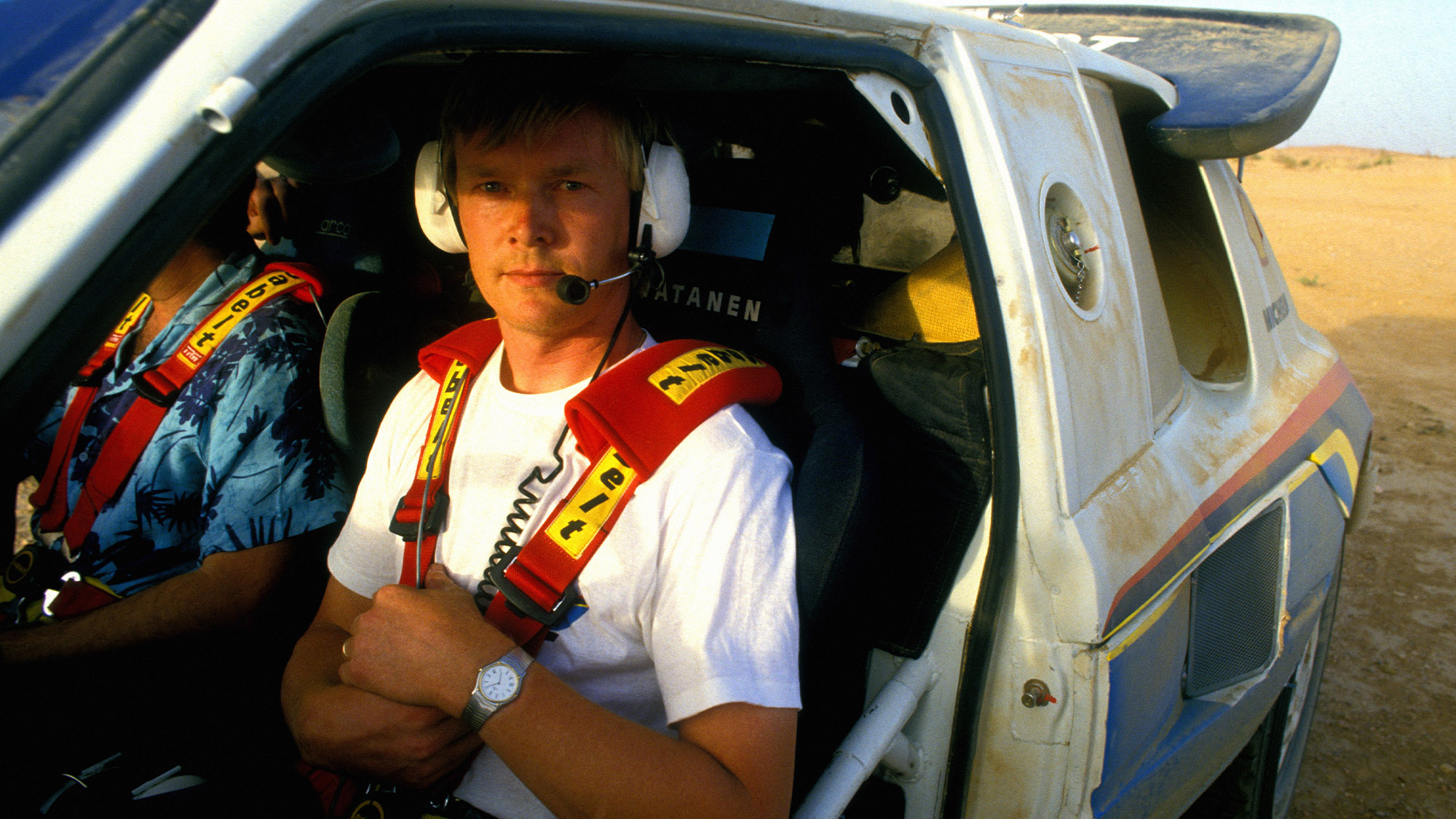 Ari Vatanen testing in his Peugeot 205 Turbo 16 for the 1986 Paris-Dakar