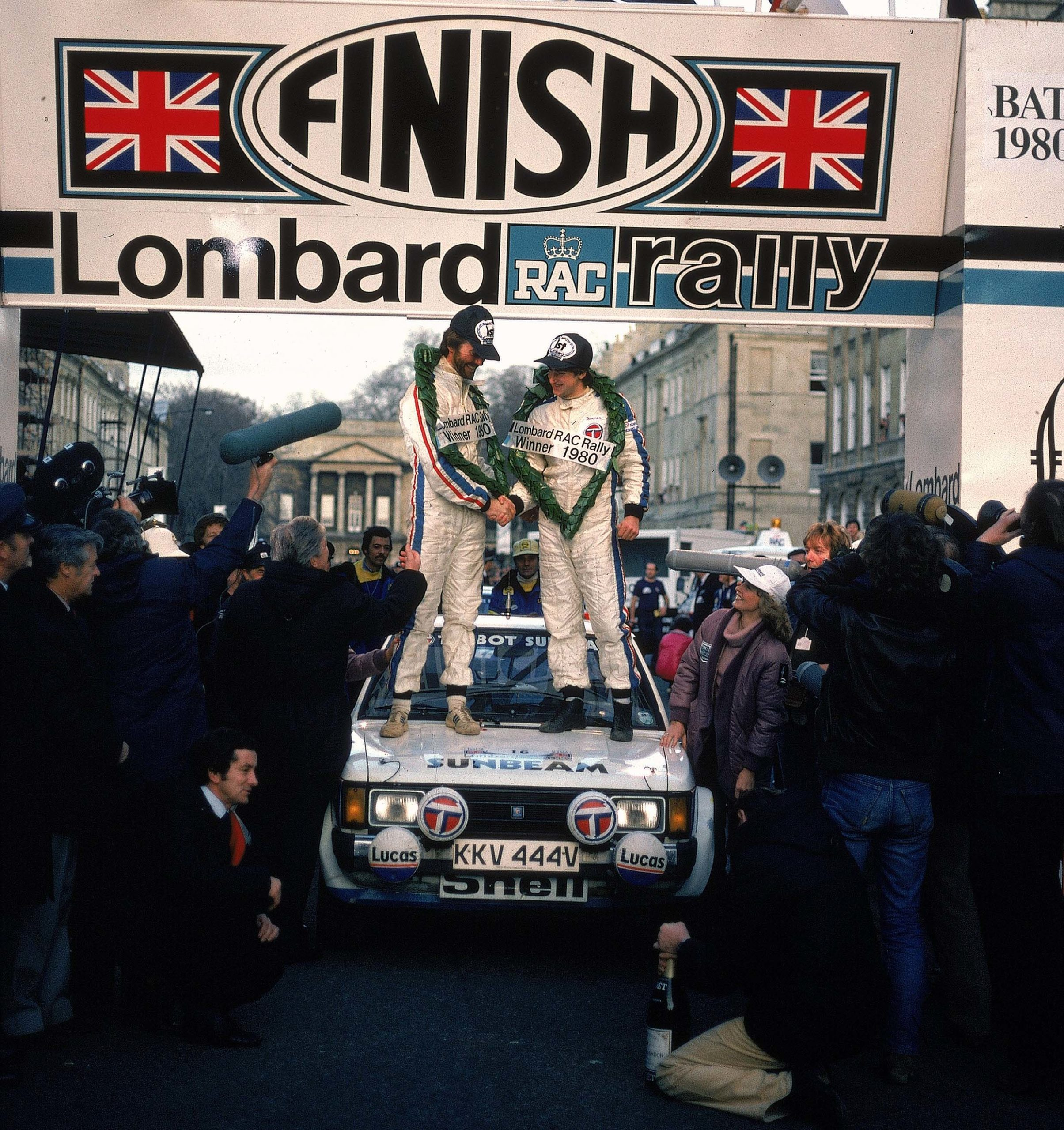 Henri-Toivonen-with-Paul-White-celebate-on-the-bonnet-of-their-Talbot-Sunbeam-after-winning-the-1980-RAC-Rally-of-Britain
