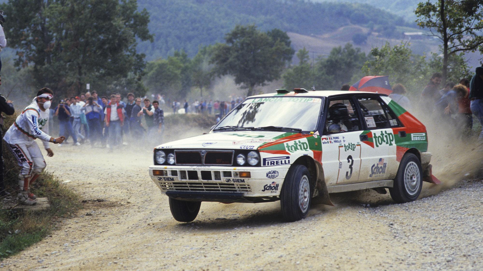 Alex Fiorio competing in his Lancia Delta on the 1988 Sanremo rally