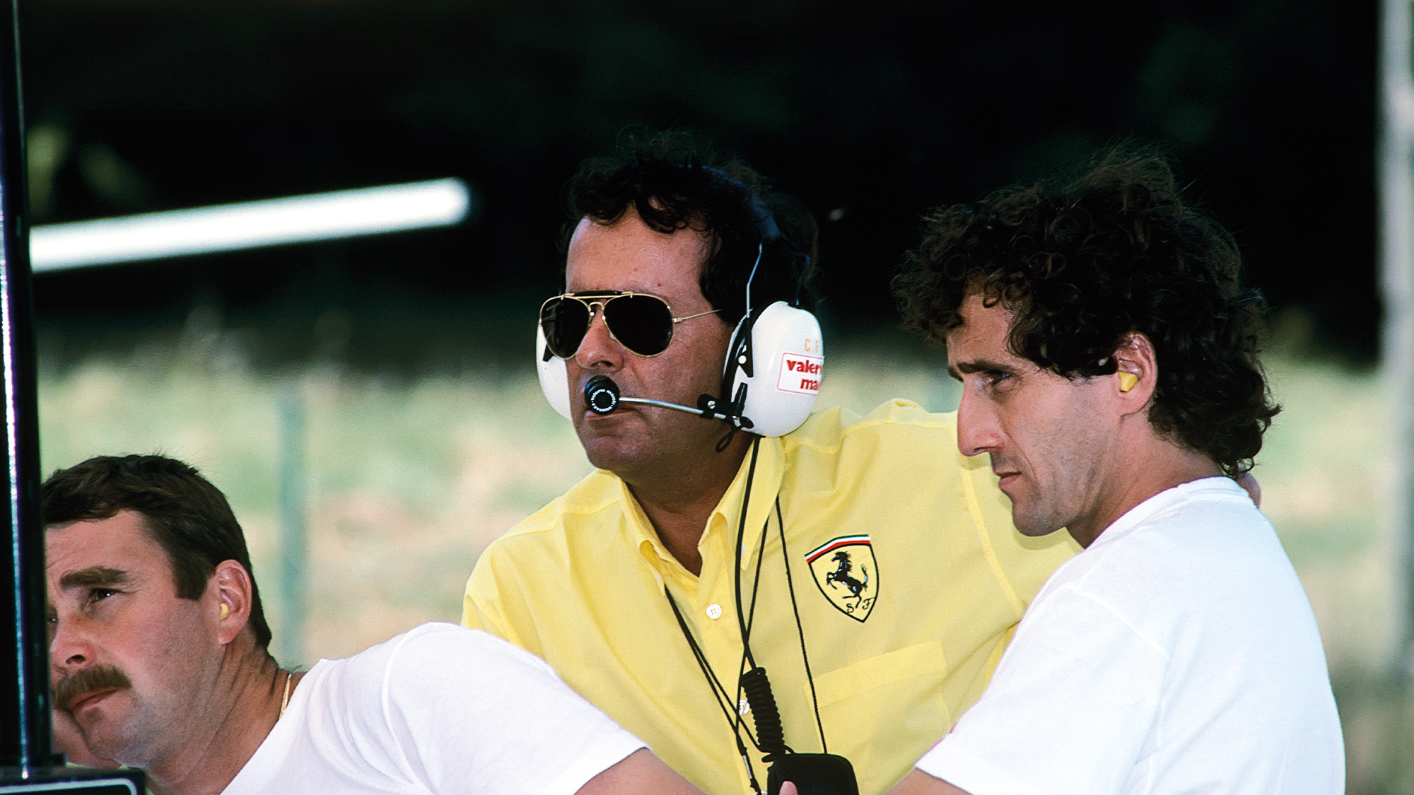 Ferrari team manager Cesare Fiorio with Nigel Mansell and Alain Prost