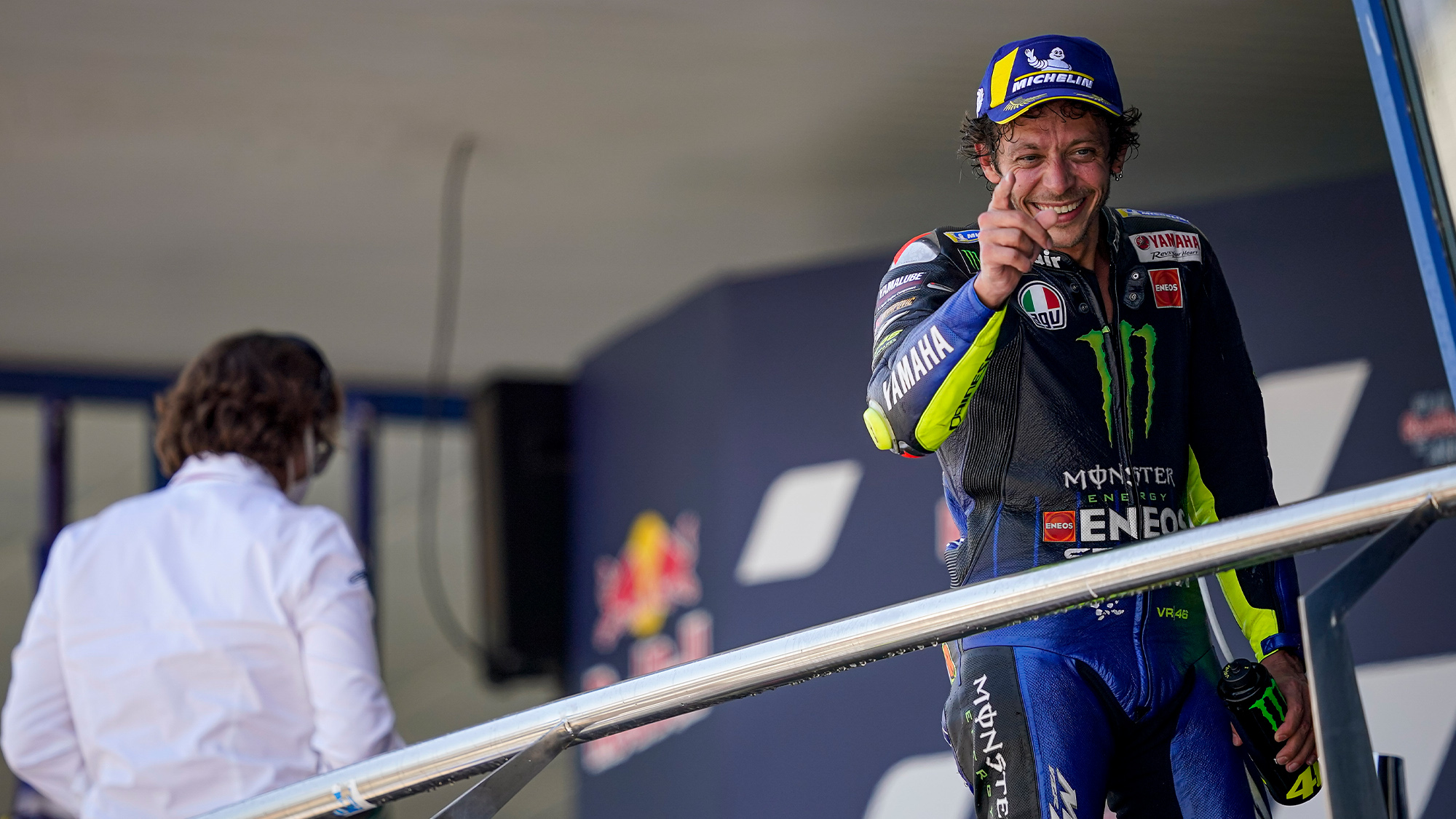 Valentino Rossi on the podium after the 2020 MotoGP Andalucia Grand Prix