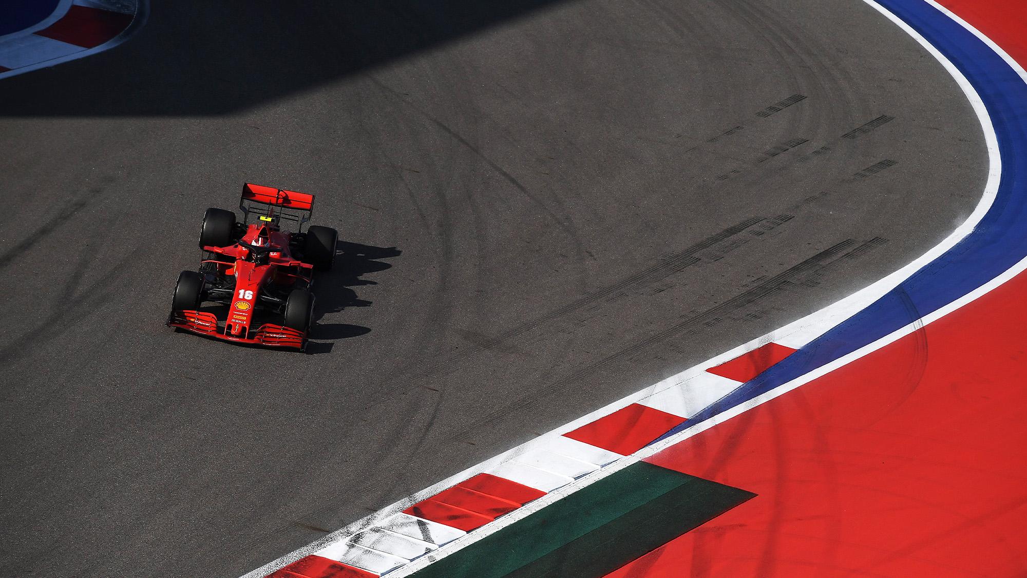 Charles Leclerc's Ferrari in Sochi during the 2020 f1 Russian Grand Prix