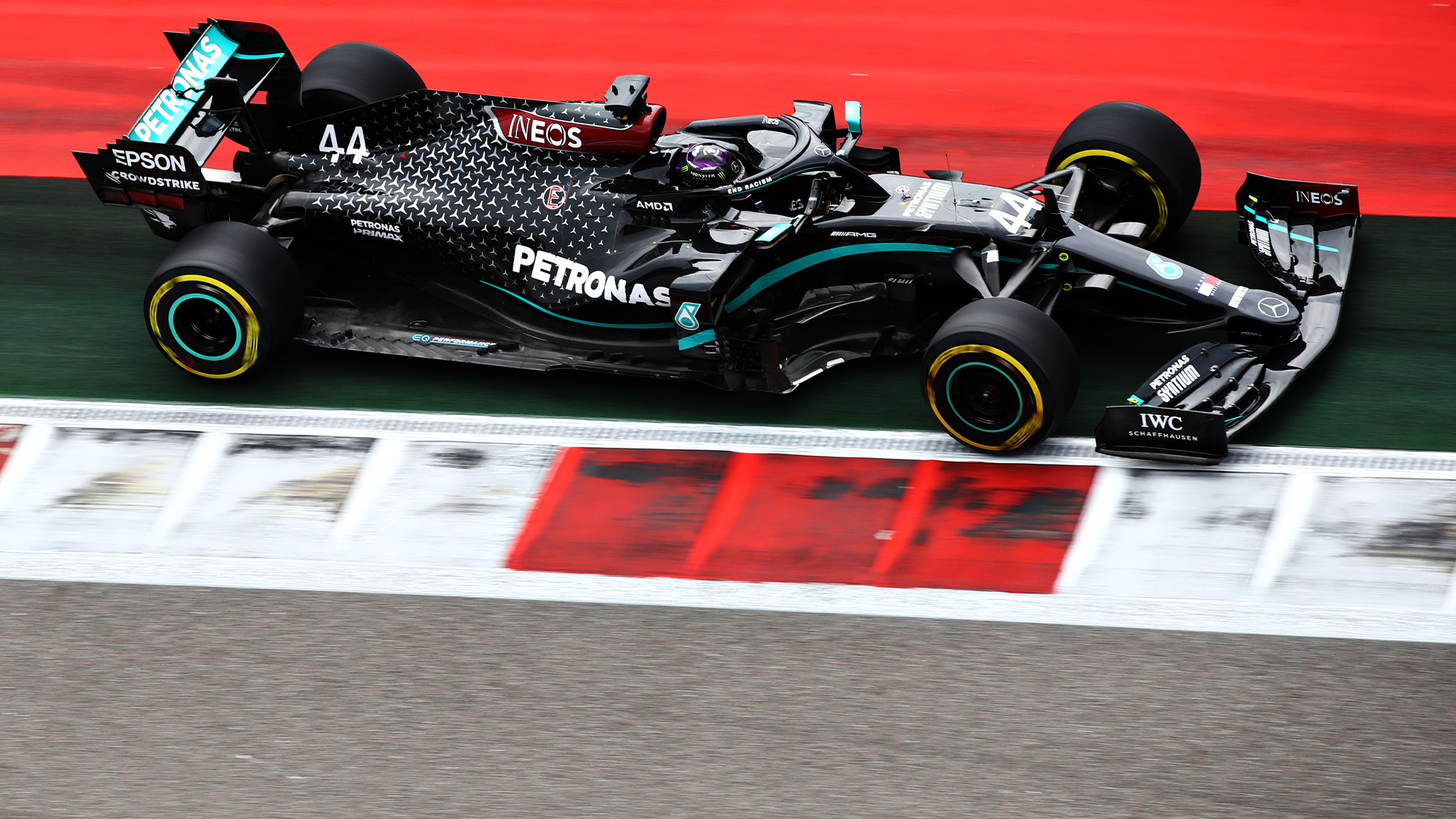 Lewis Hamilton drives out of track limits during qualifying for the 2020 F1 Russian Grand Prix