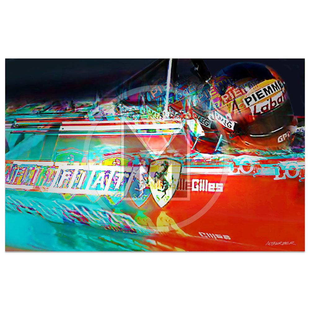 Product image for Gilles Villeneuve | Ferrari 126 C2 | Side View | 1982 | Andrew Barber | print
