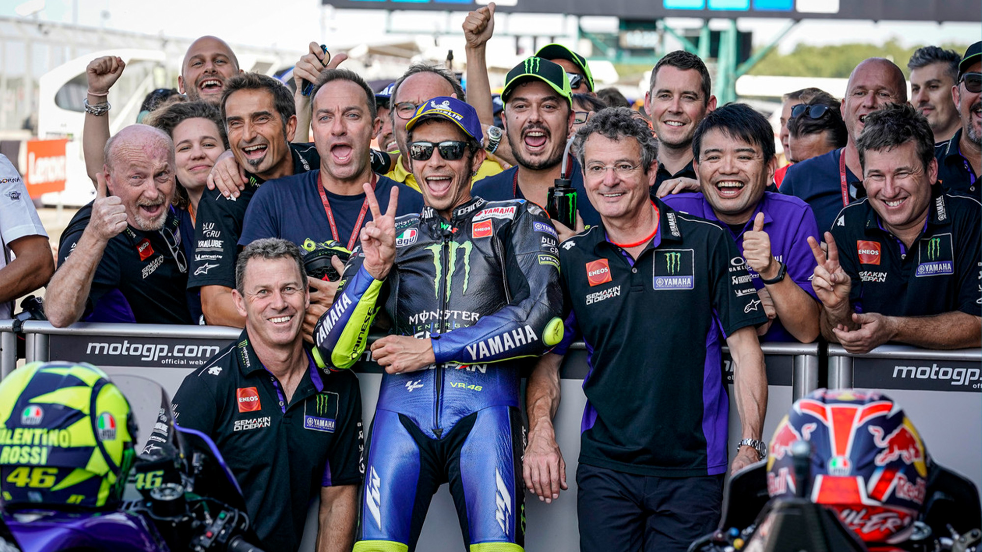 Valentino Rossi with his Yamaha team