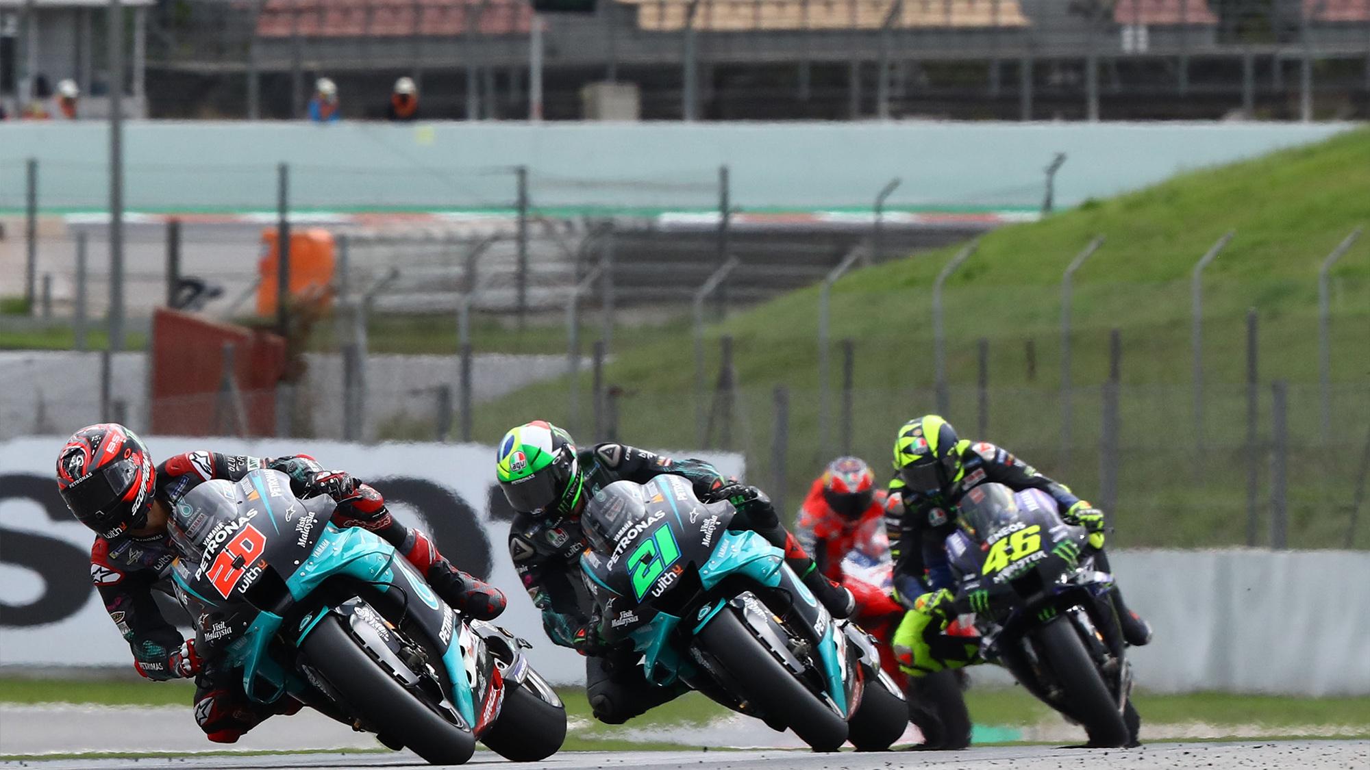 Fabio Quartararo leads Franco Morbidelli and Valentino Rossi in the 2020 MotoGP Catalan Grand Prix