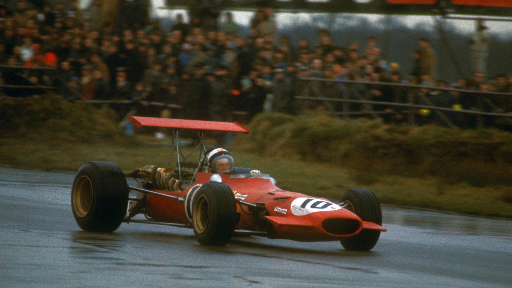 Derek Bell in a Ferrari 312 during the 1969 International Trophy at Silverstone