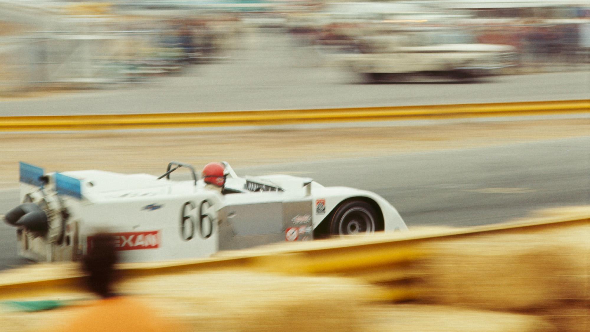 Vic Elford driving the Chaparral 2J at Laguna Seca in 1970