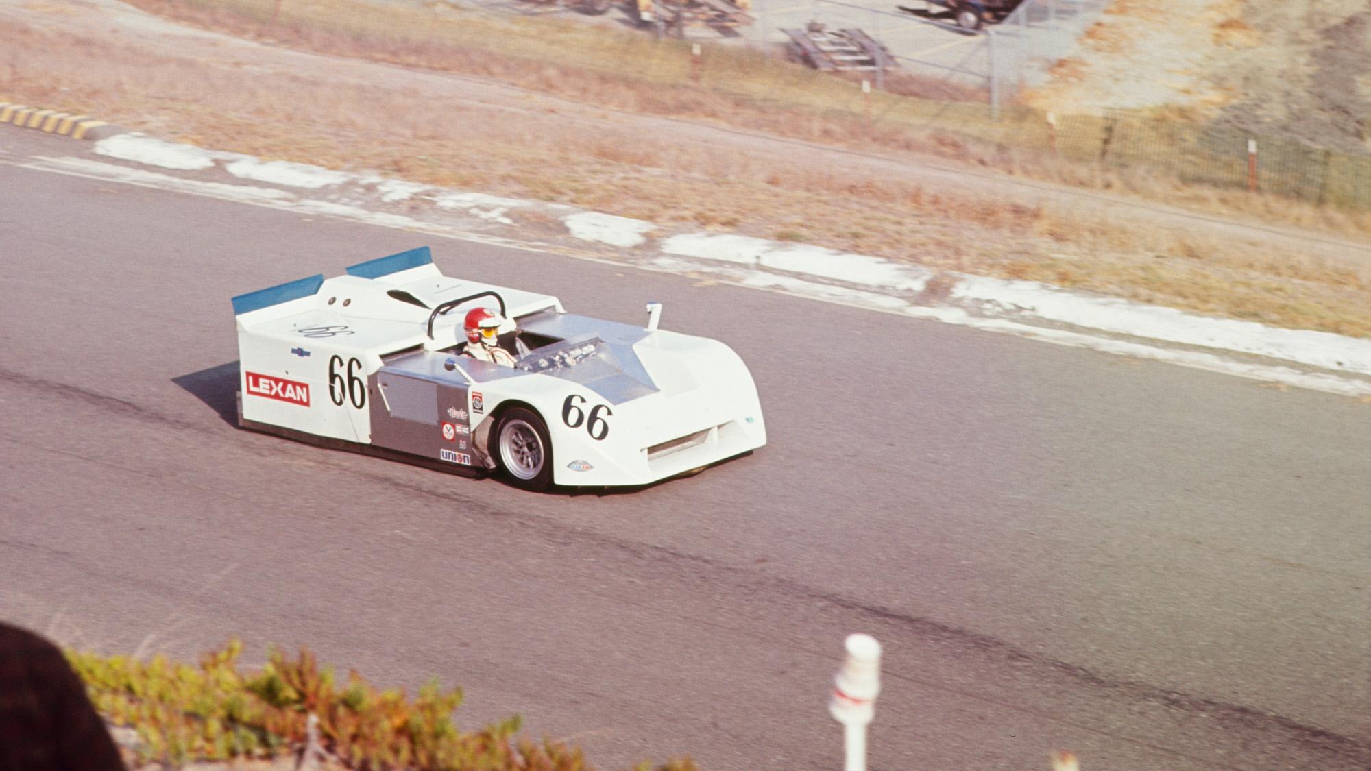 Vic Elford driving the Chaparral 2J at Riverside Laguna Seca in 1970
