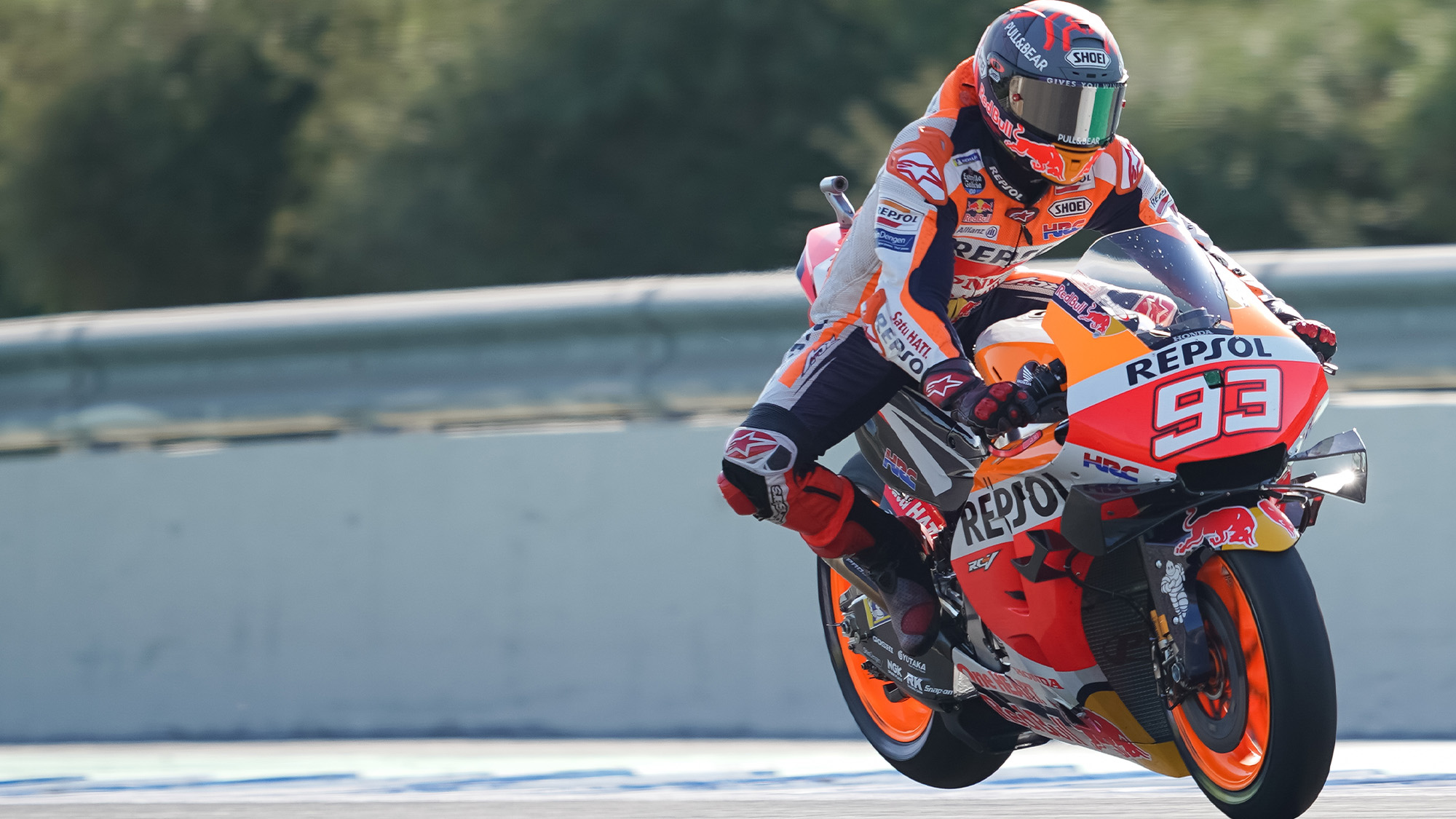 Marc Marquez at Jerez in 2020 rising with a broken arm