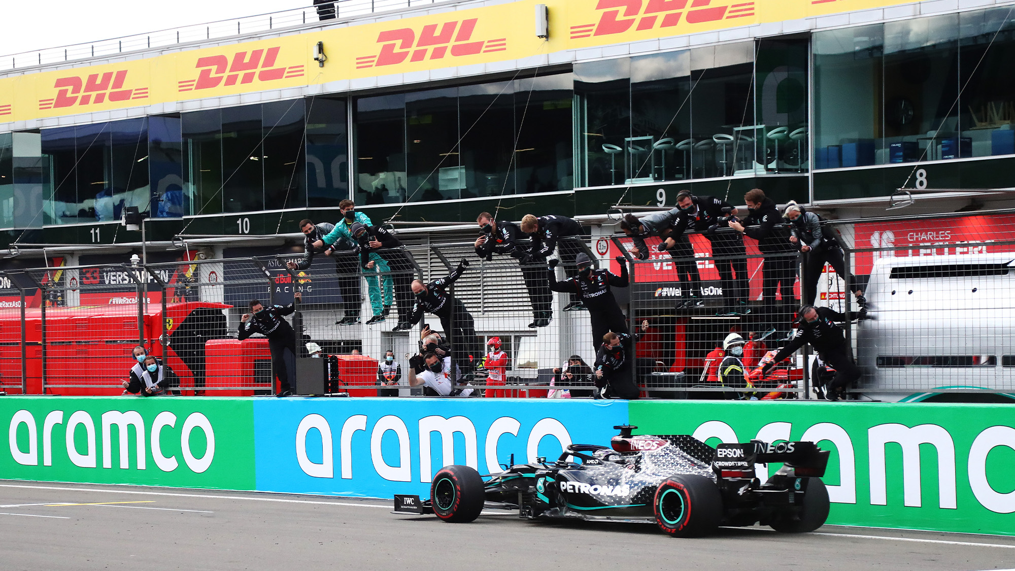 Lewis Hamilton crosses the finish line to win the 2020 F1 Eifel Grand Prix at the Nurburgring