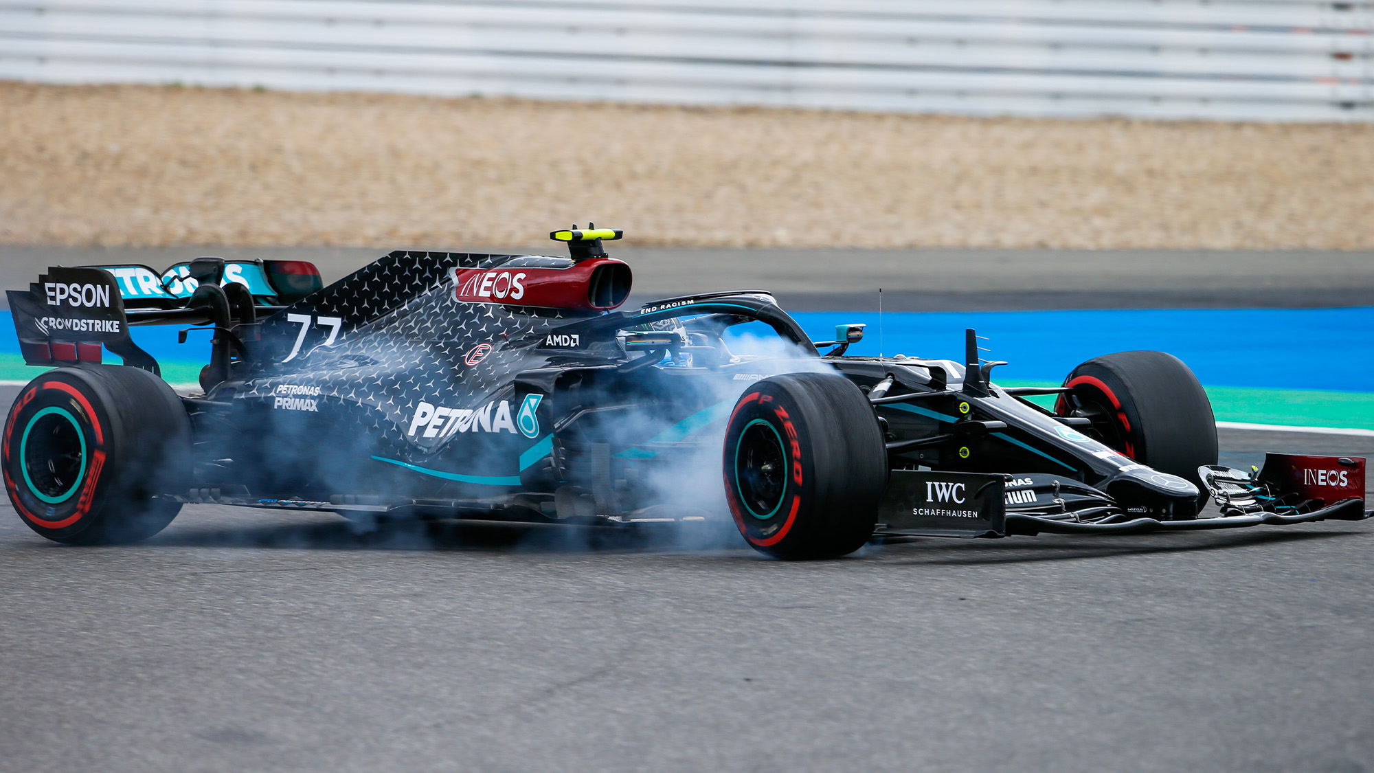 Valtteri Bottas locks up at the Nurbirgring during the 2020 f1 Eifel Grand Prix