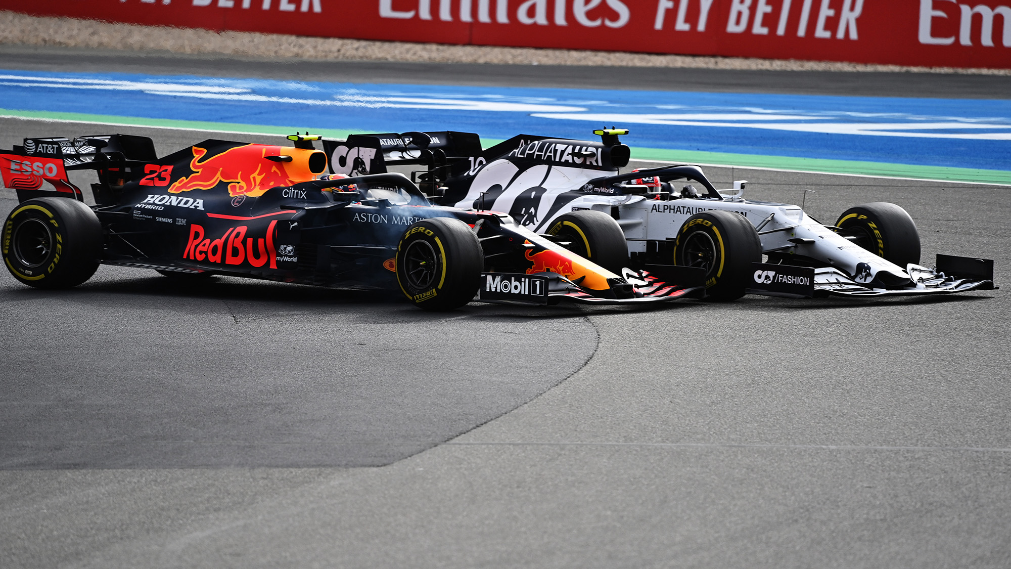 Alex Albon clashes with Pierre Gasly at the Nurburgring during the 2020 F1 Eifel Grand Prix
