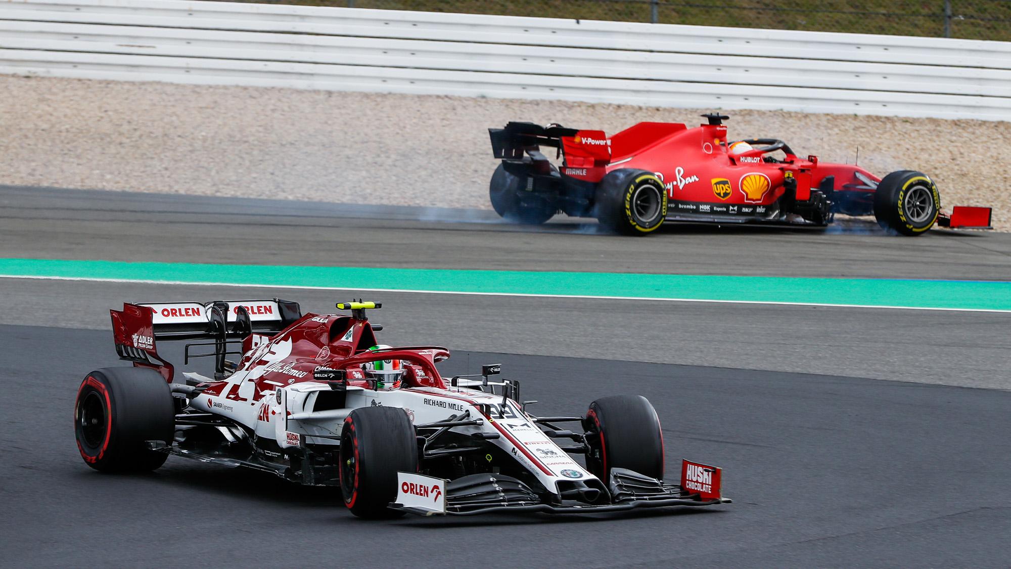 Sebastian Vettel spins off behind Antonio Giovinazzi at the Nurburgring during the 2020 F1 Eifel Grand Prix