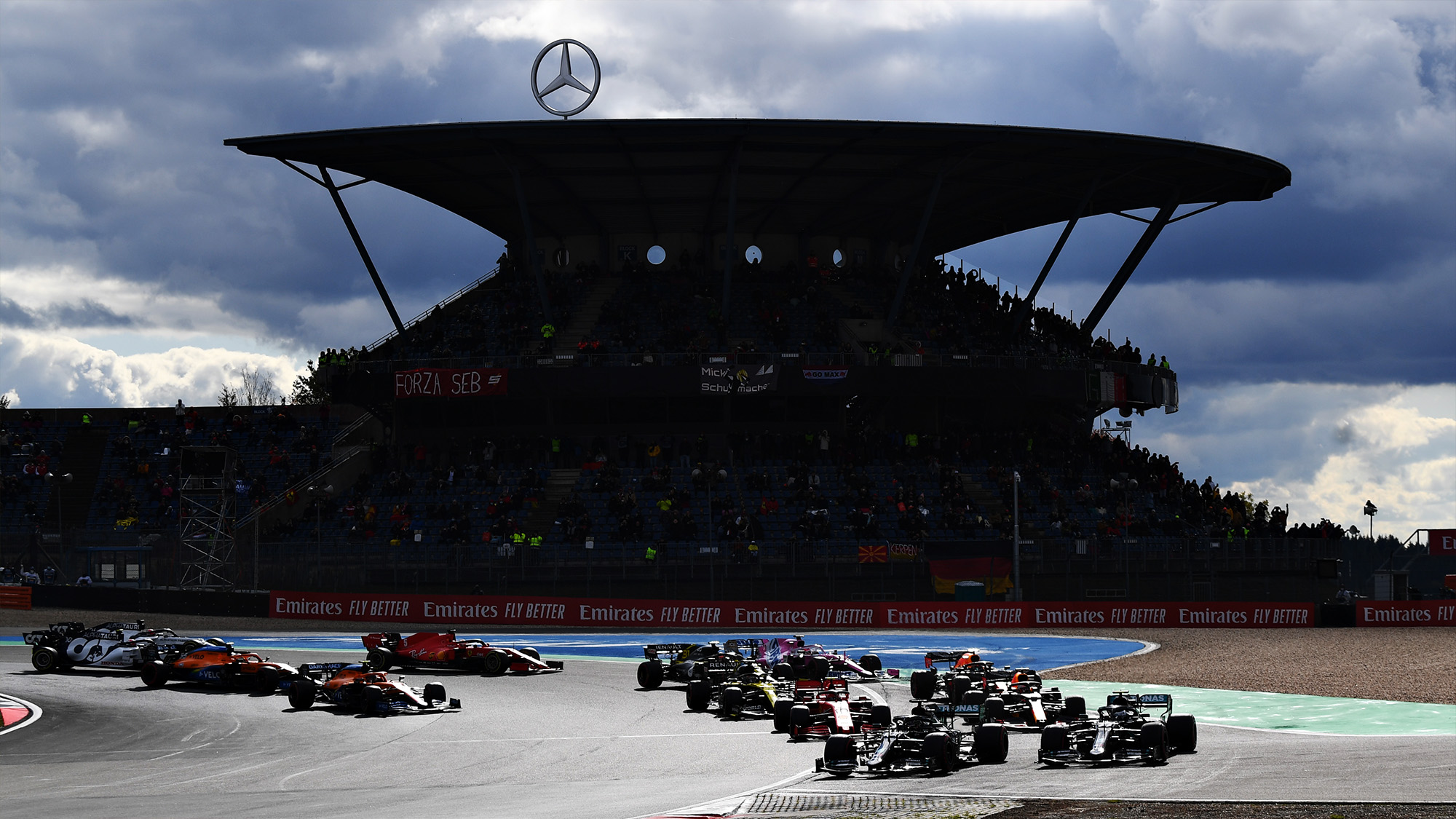 Lewis Hamilton and Valtteri Bottas battle for the lead of the 2020 F1 Eifel Grand Prix at the Nurbirgring