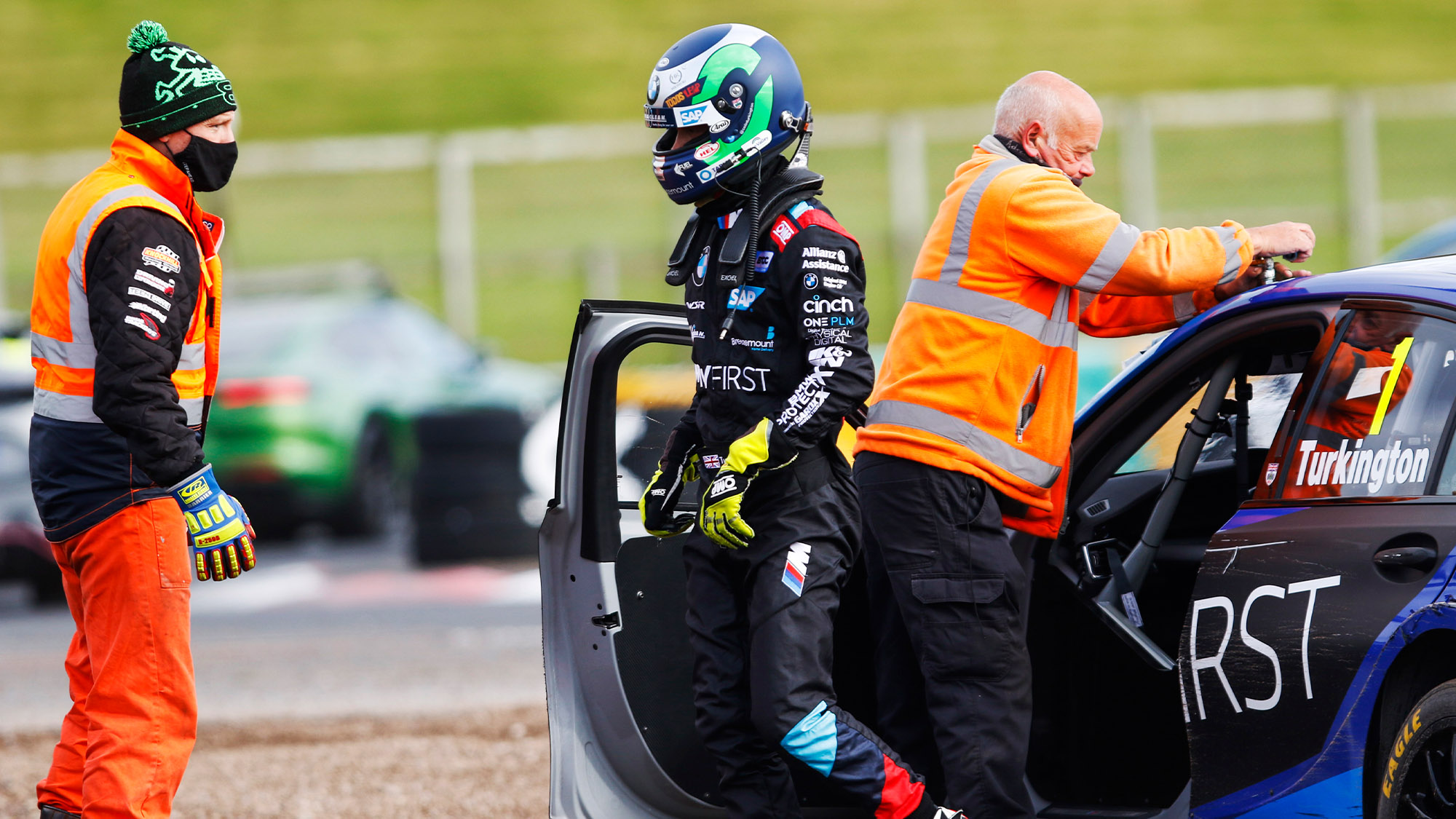 Colin Turkington walks away from his BMW after crashing out of the 2020 BTCC Croft Round